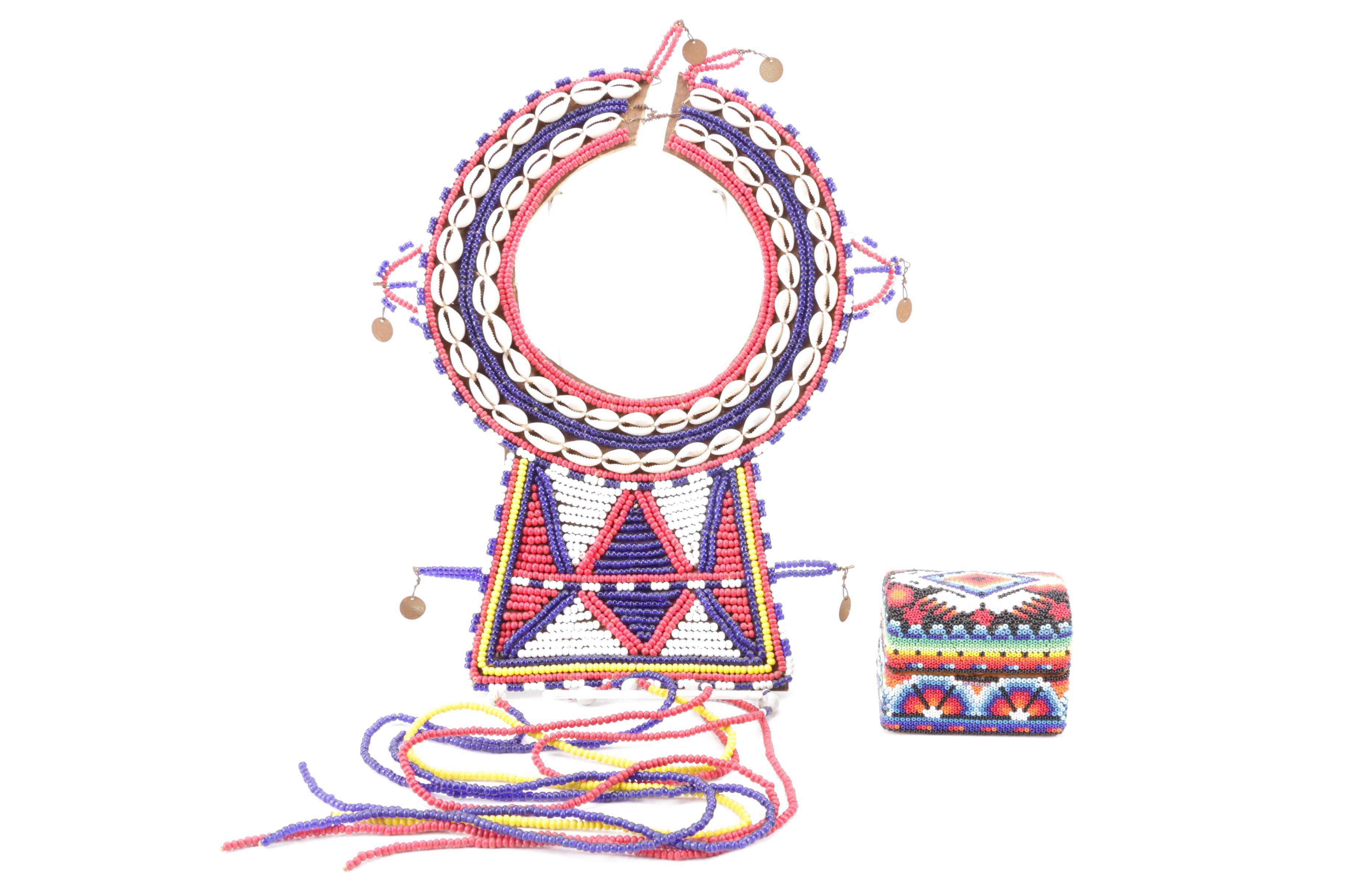Kenyan Maasai Bead and Cowrie Shell Necklace
