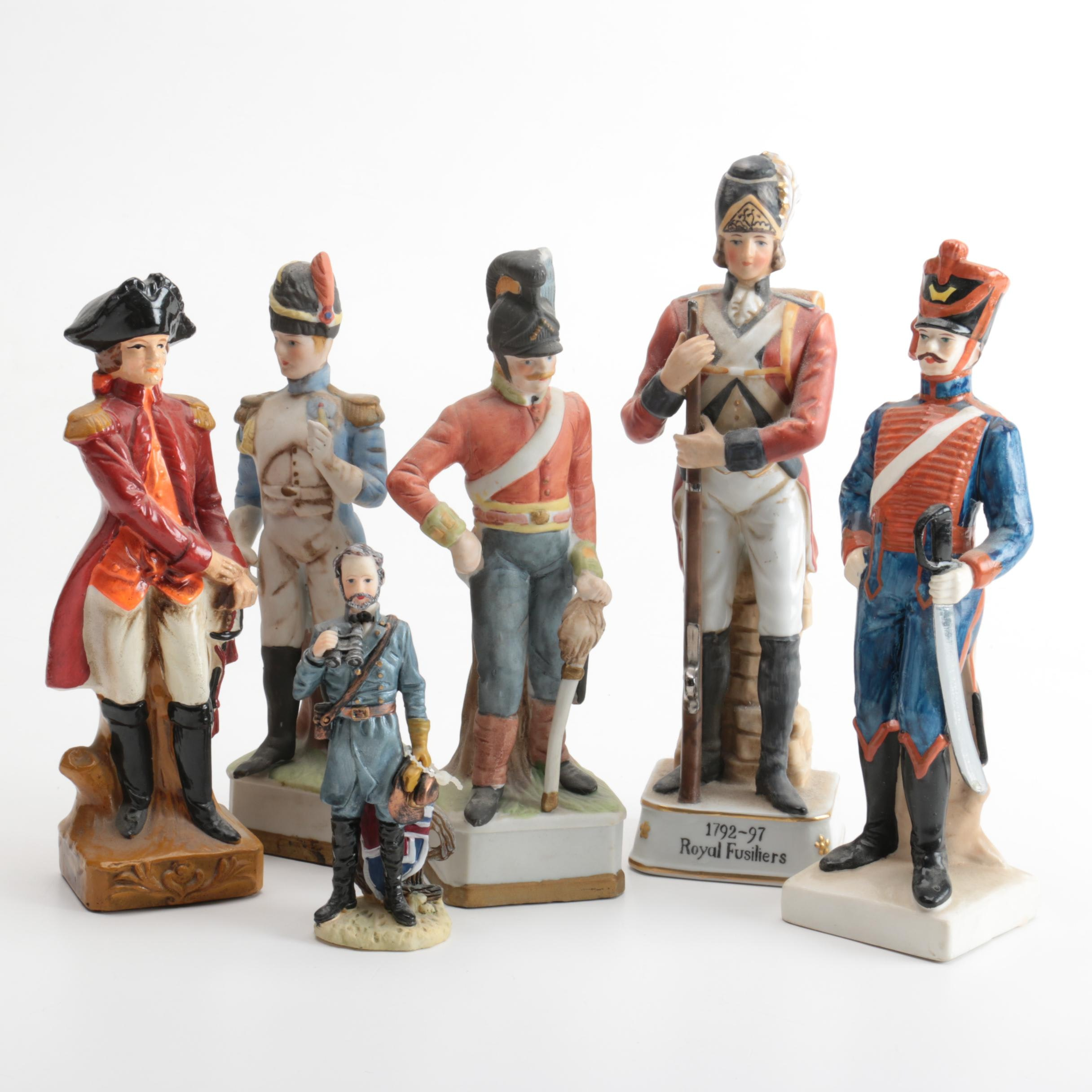 Ceramic Military Figurines of 18th and 19th Century Officers