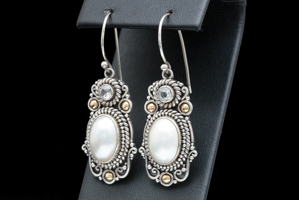 Robert Manse Sterling Silver, 18K Gold, Mabé pearl and White Topaz Earrings
