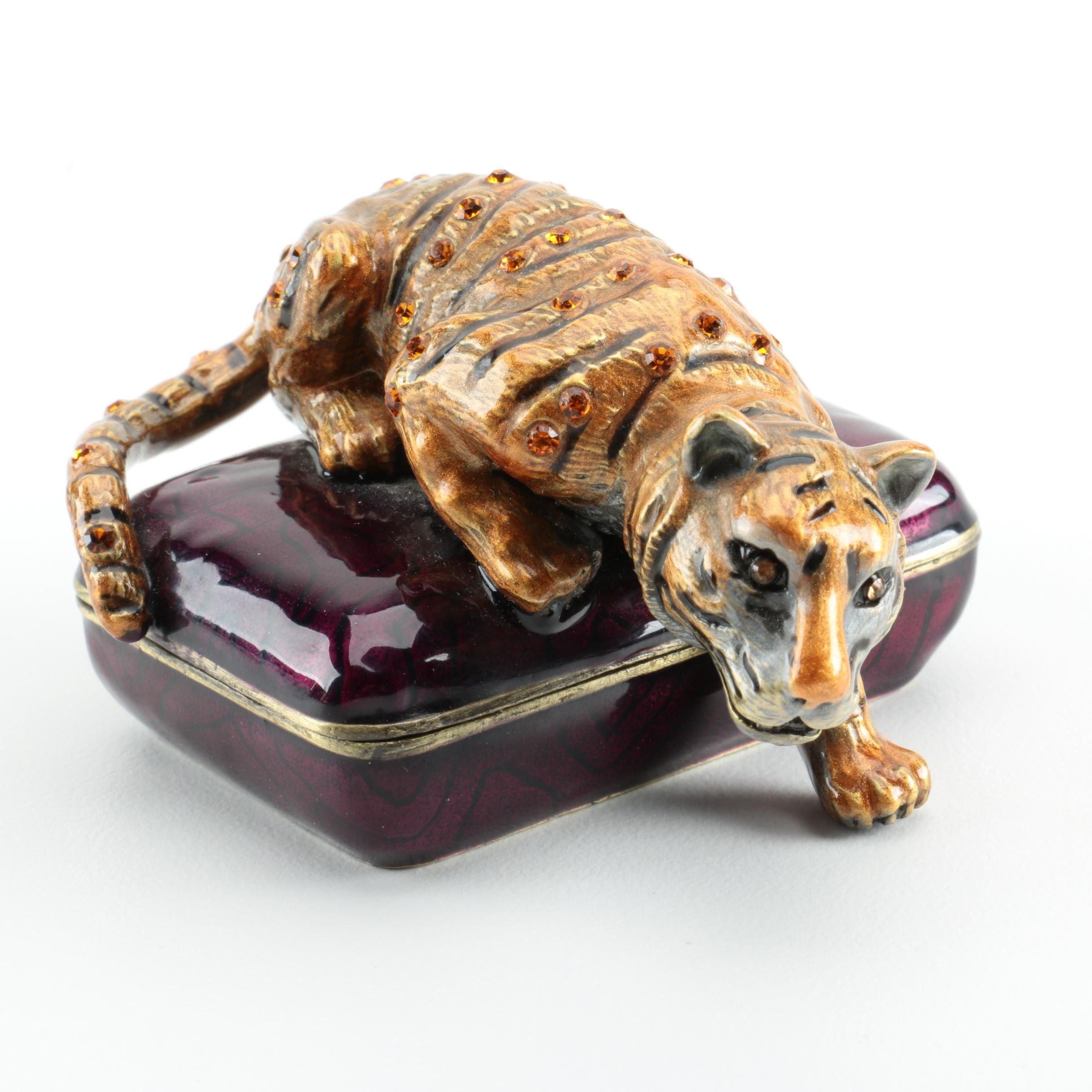 "Brass and Enamel ""Rucinni"" Tiger Trinket Box"