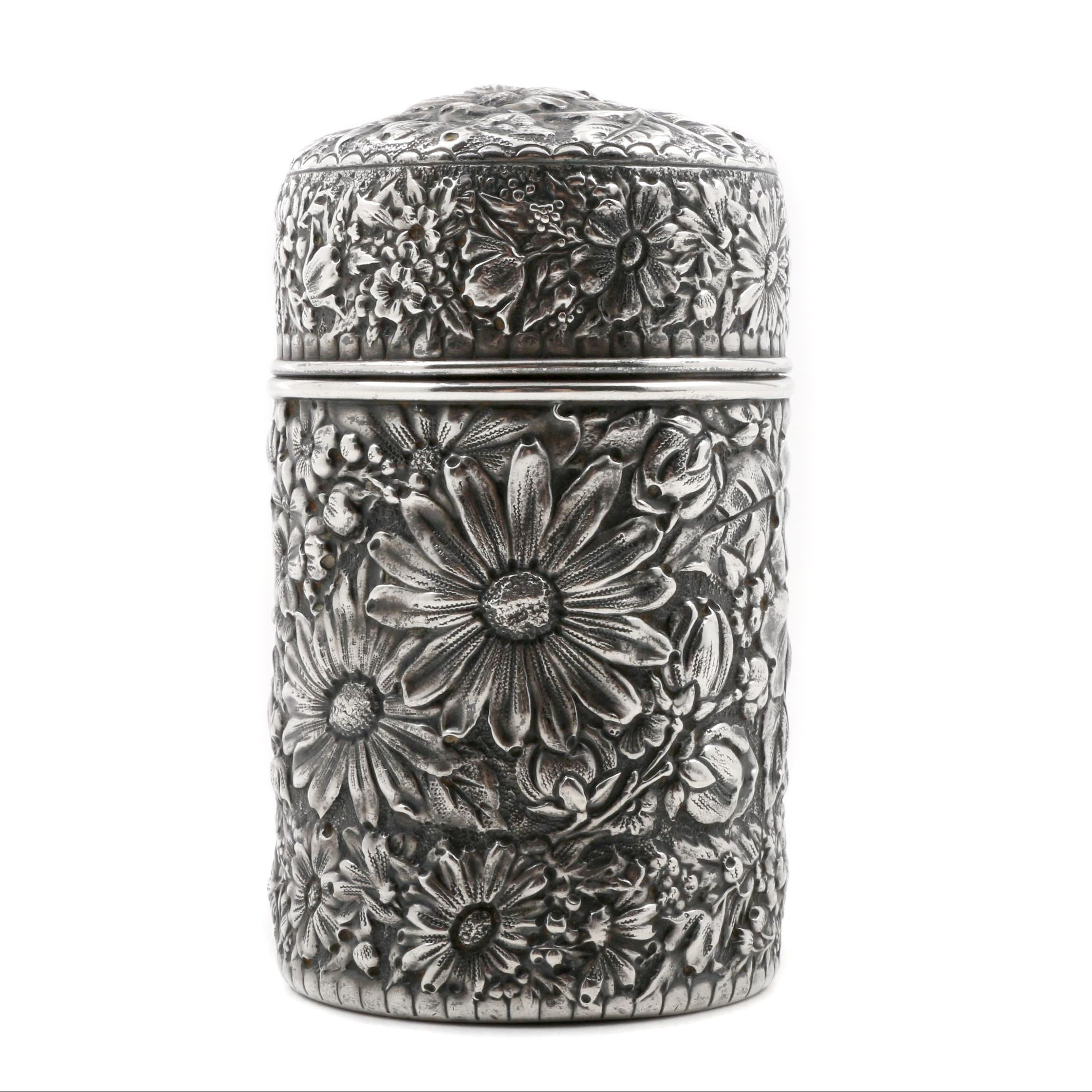 Antique Gorham Sterling Silver Repoussé Floral Cylindrical Box