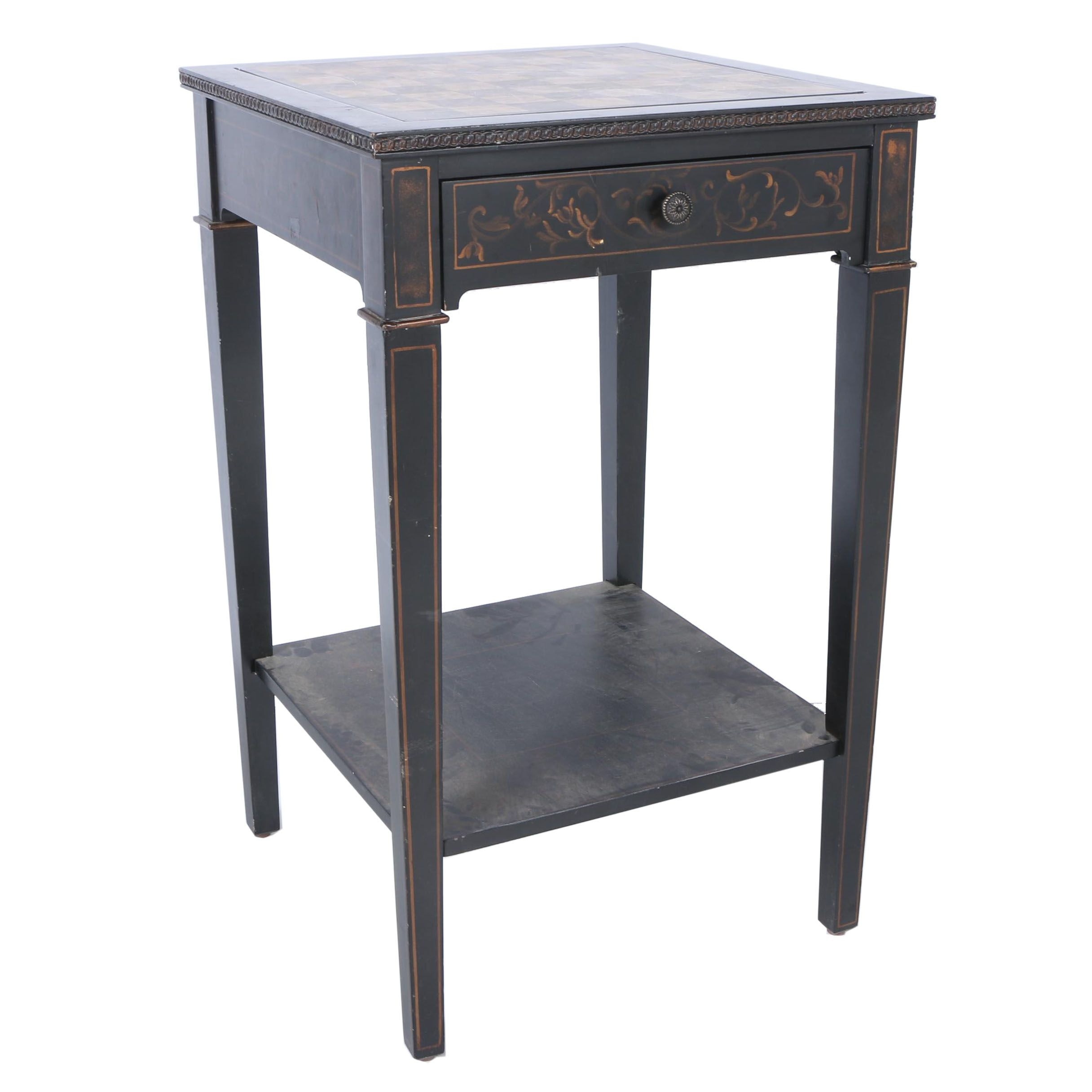 Stencilled Black Game Table