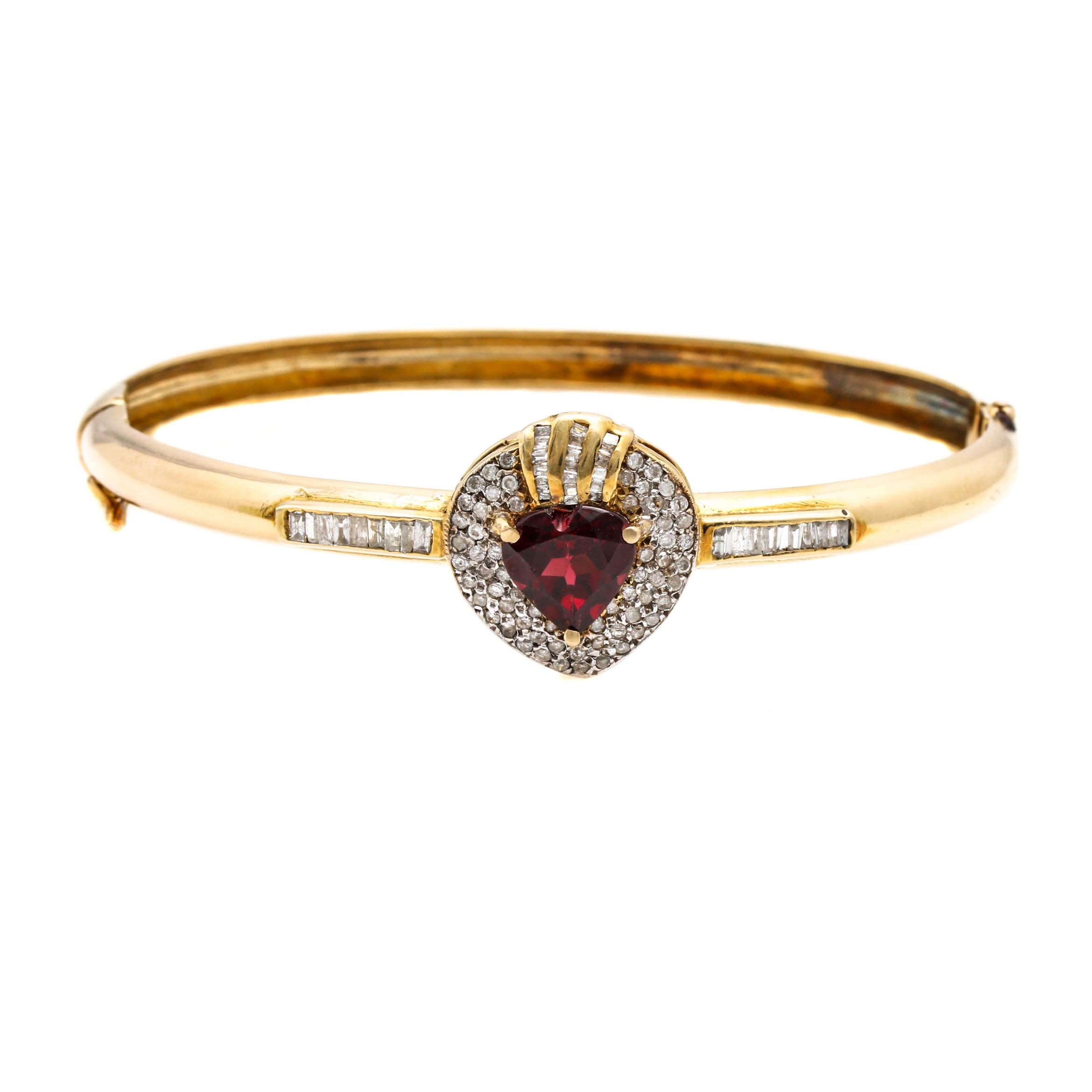 14K Yellow Gold Garnet and 1.27 CTW Diamond Hinged Bracelet