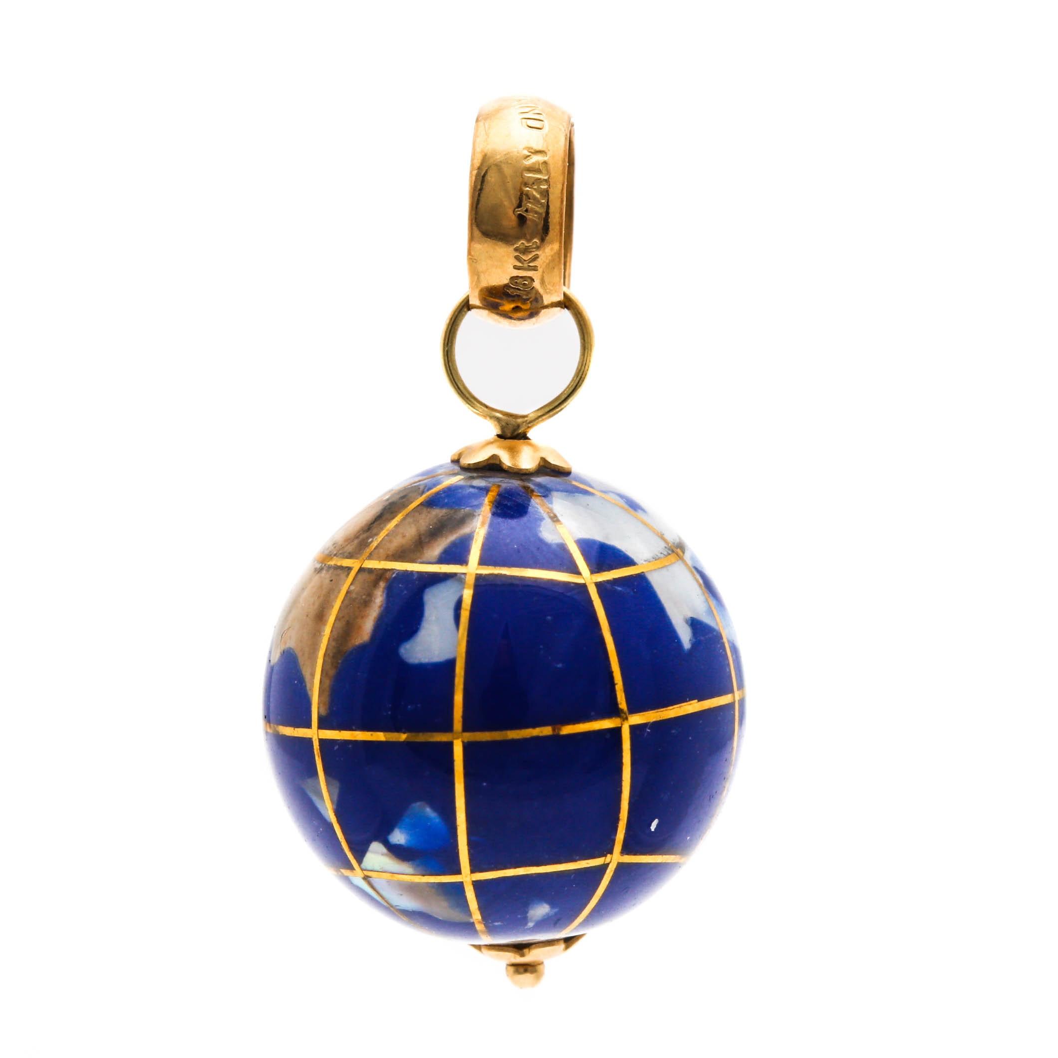 18K Yellow Gold Jasper, Mother of Pearl and Aventurine Globe Pendant