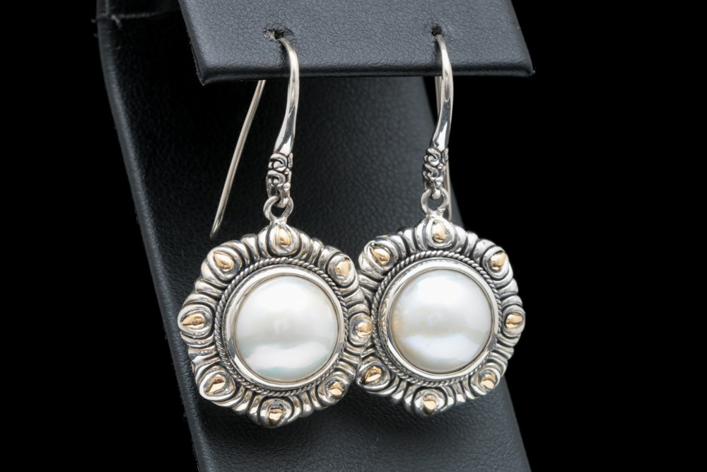 Robert Manse Sterling Silver, 18K Yellow Gold and Mabé Pearl Earrings