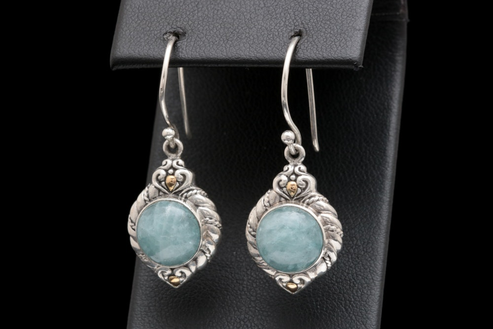 Sterling Silver, 18K Yellow Gold and Milky Aquamarine Dangle Earrings