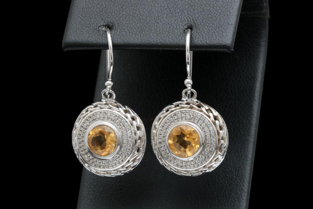 Robert Manse Sterling Silver, 18K Yellow Gold, Citrine and White Topaz Earrings