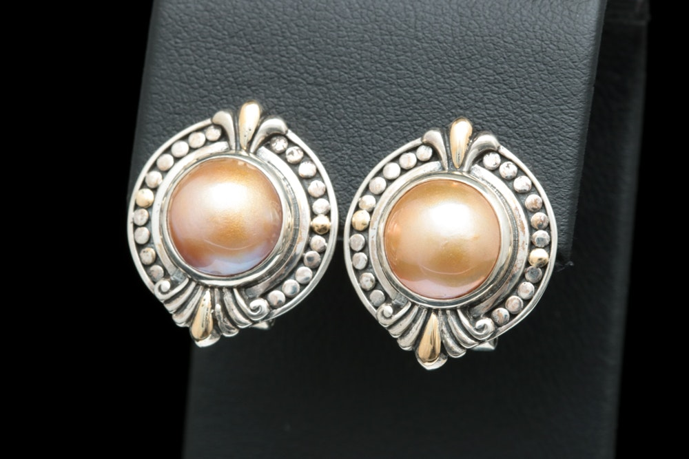 Robert Manse Sterling Silver, 18K Yellow Gold and Golden Mabé Pearl Earrings