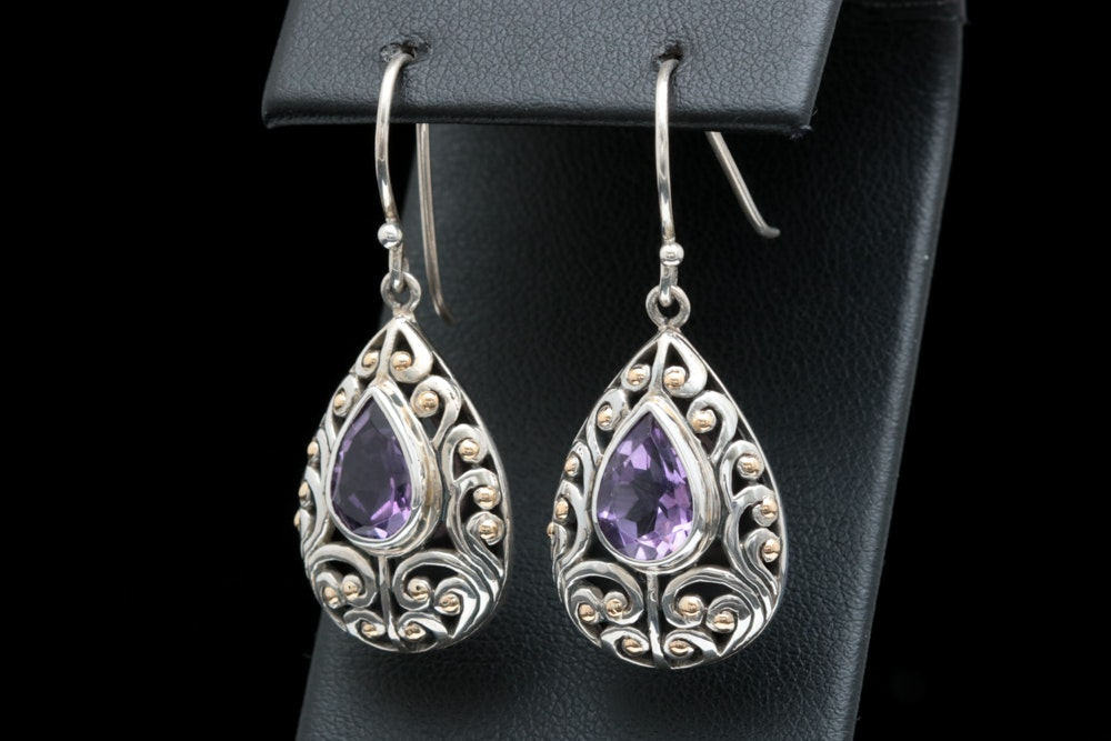 Sterling Silver, 18K Yellow Gold and Amethyst Earrings