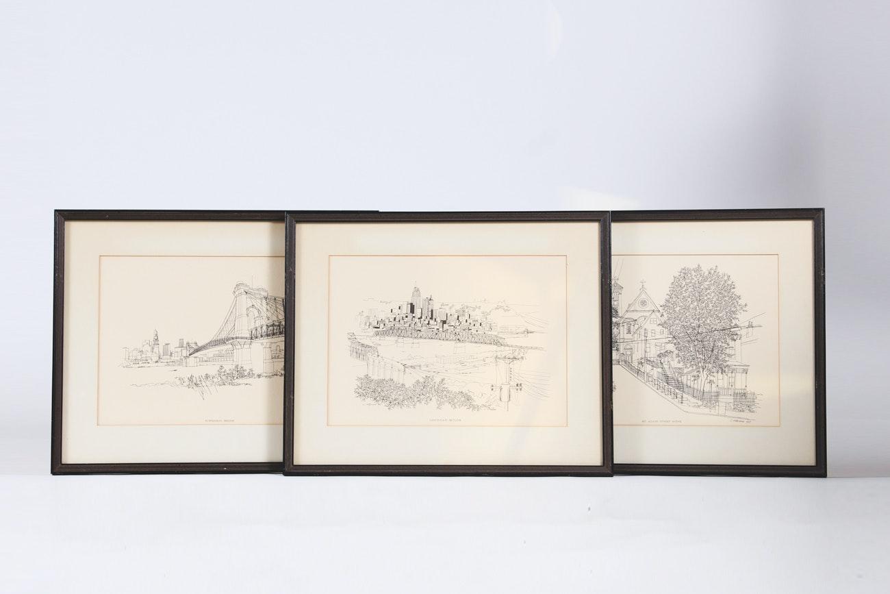 Trio of Framed C. Orlemann Prints