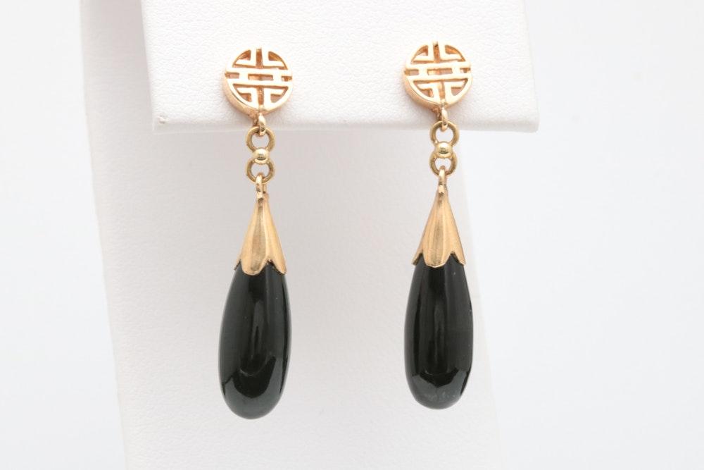 14K Yellow Gold and Black Jadeite Dangle Earrings
