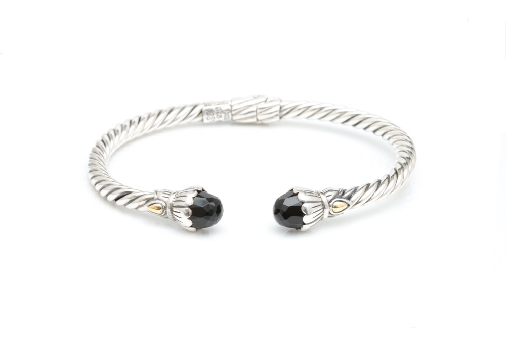 Robert Manse Sterling Silver, 18K Yellow Gold and Black Chalcedony Open Bangle