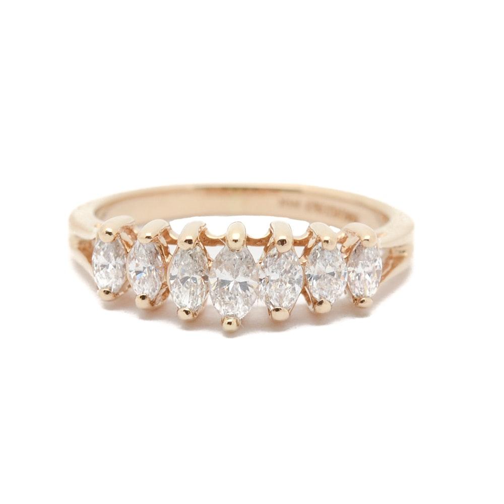 14K Yellow Gold Marquise Diamond Ring