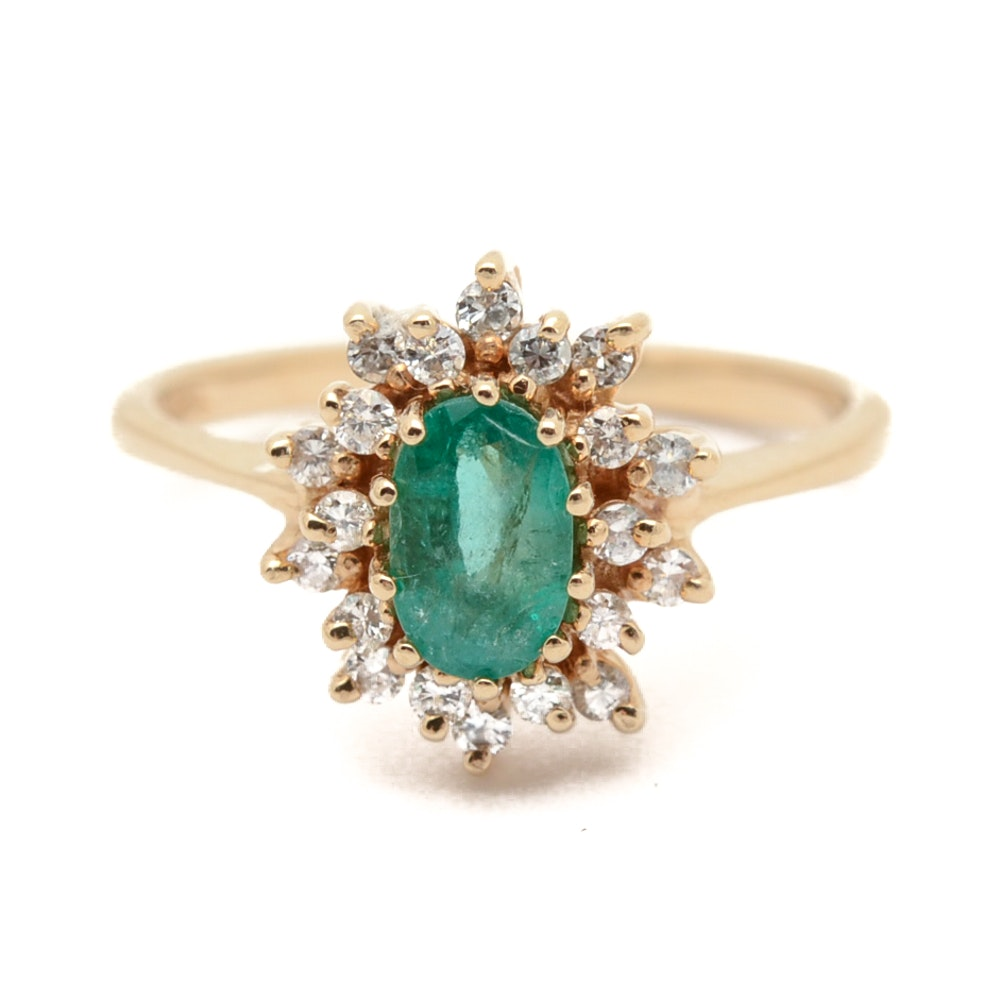 14K Yellow Gold Emerald and Diamond Halo Ring