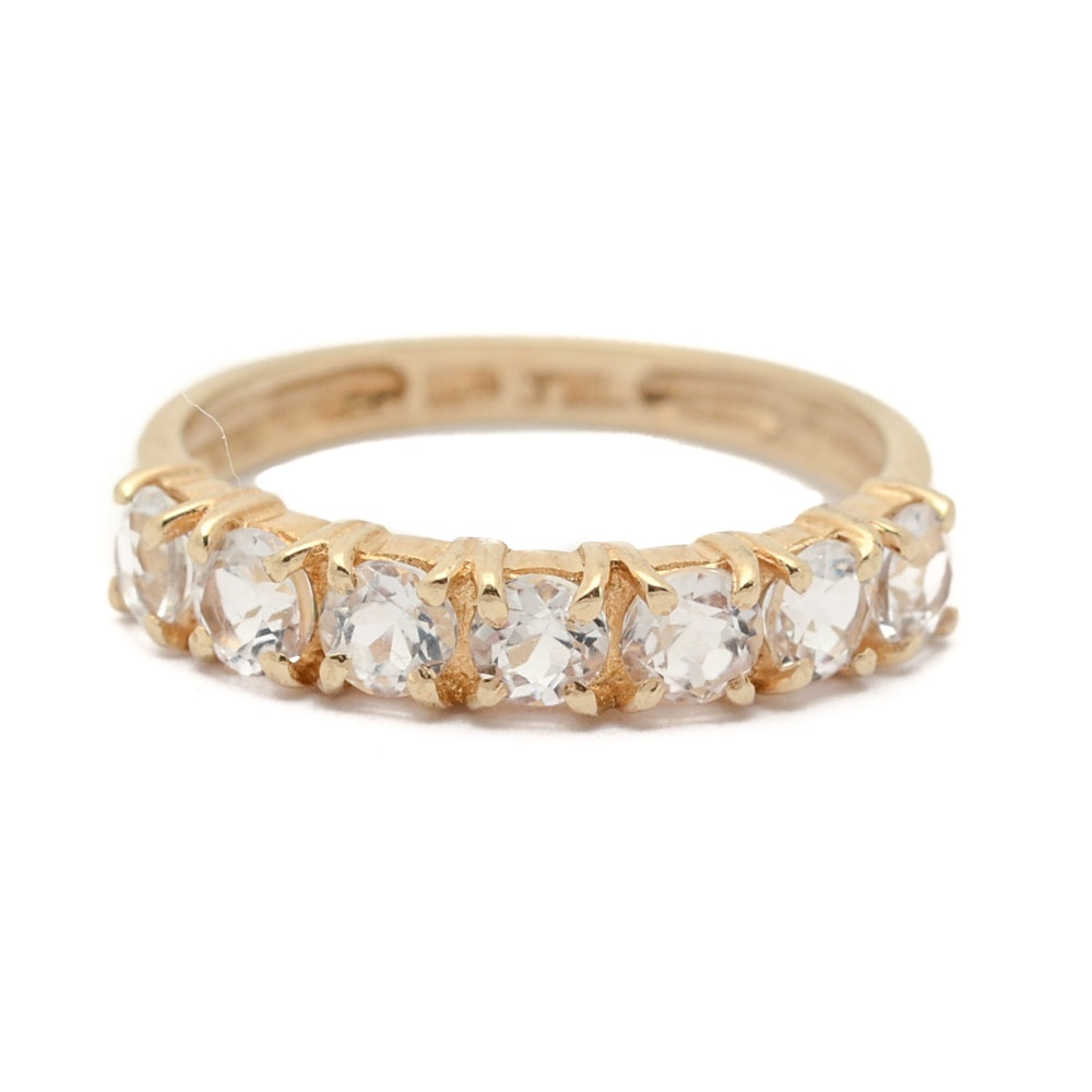 10K Yellow Gold White Topaz Ring