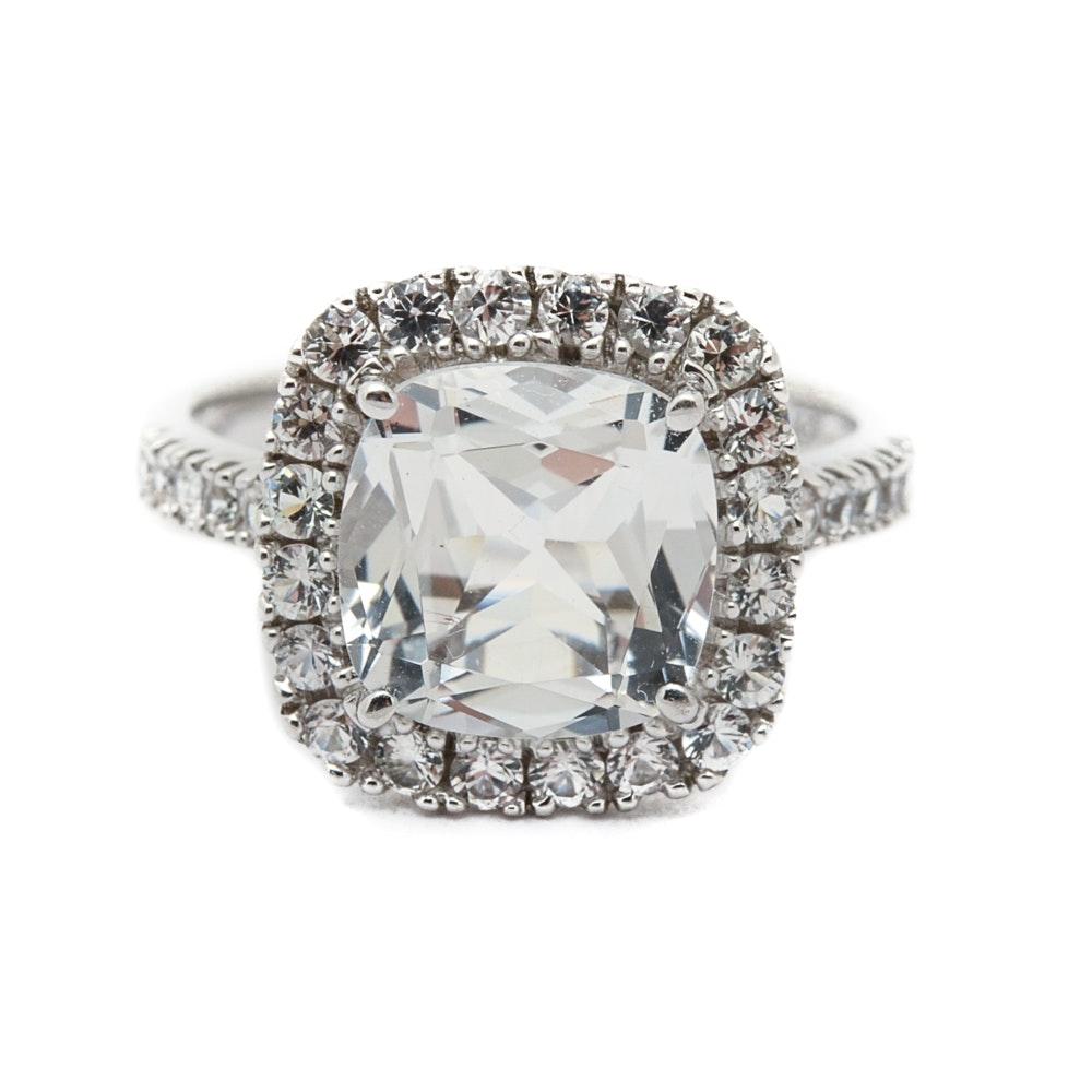 14K White Gold Cushion Cut White Topaz Ring