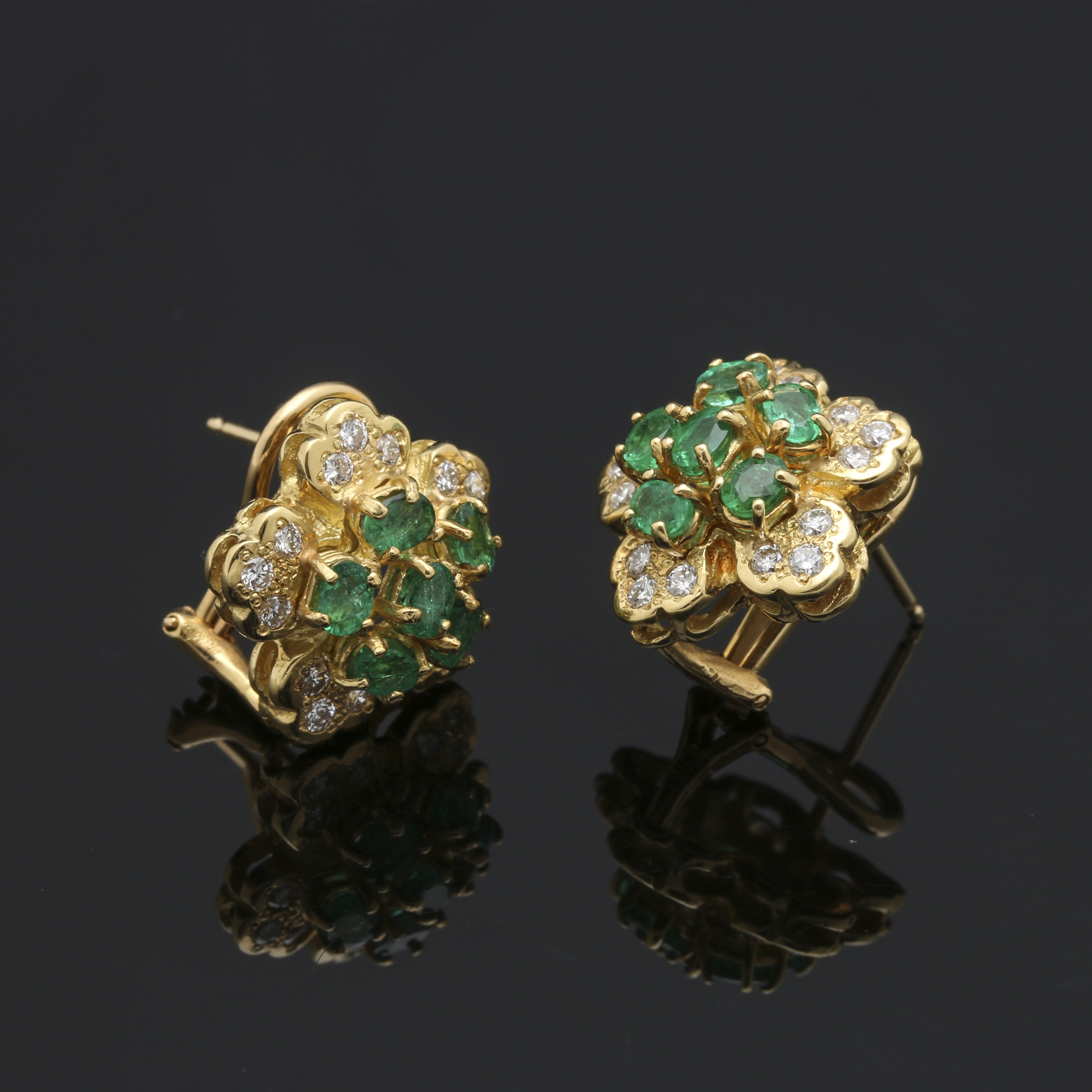 18K Yellow Gold 1.20 CTW Emerald and Diamond Earrings