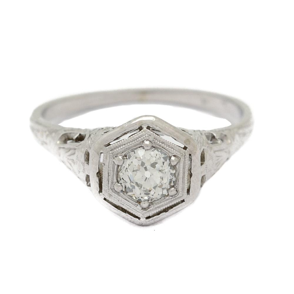 Vintage 18K White Gold Diamond Filigree Ring