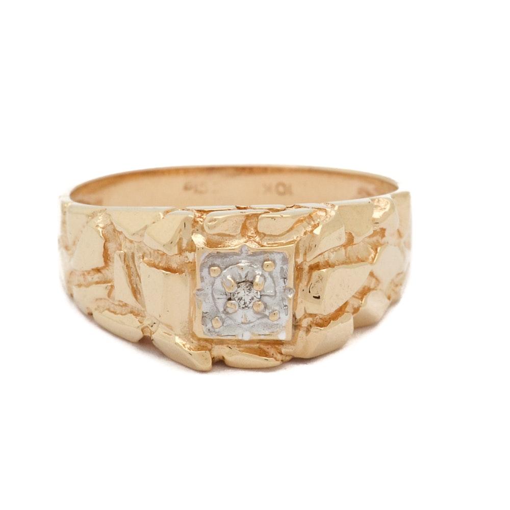 10K Yellow Gold Diamond Nugget Style Ring
