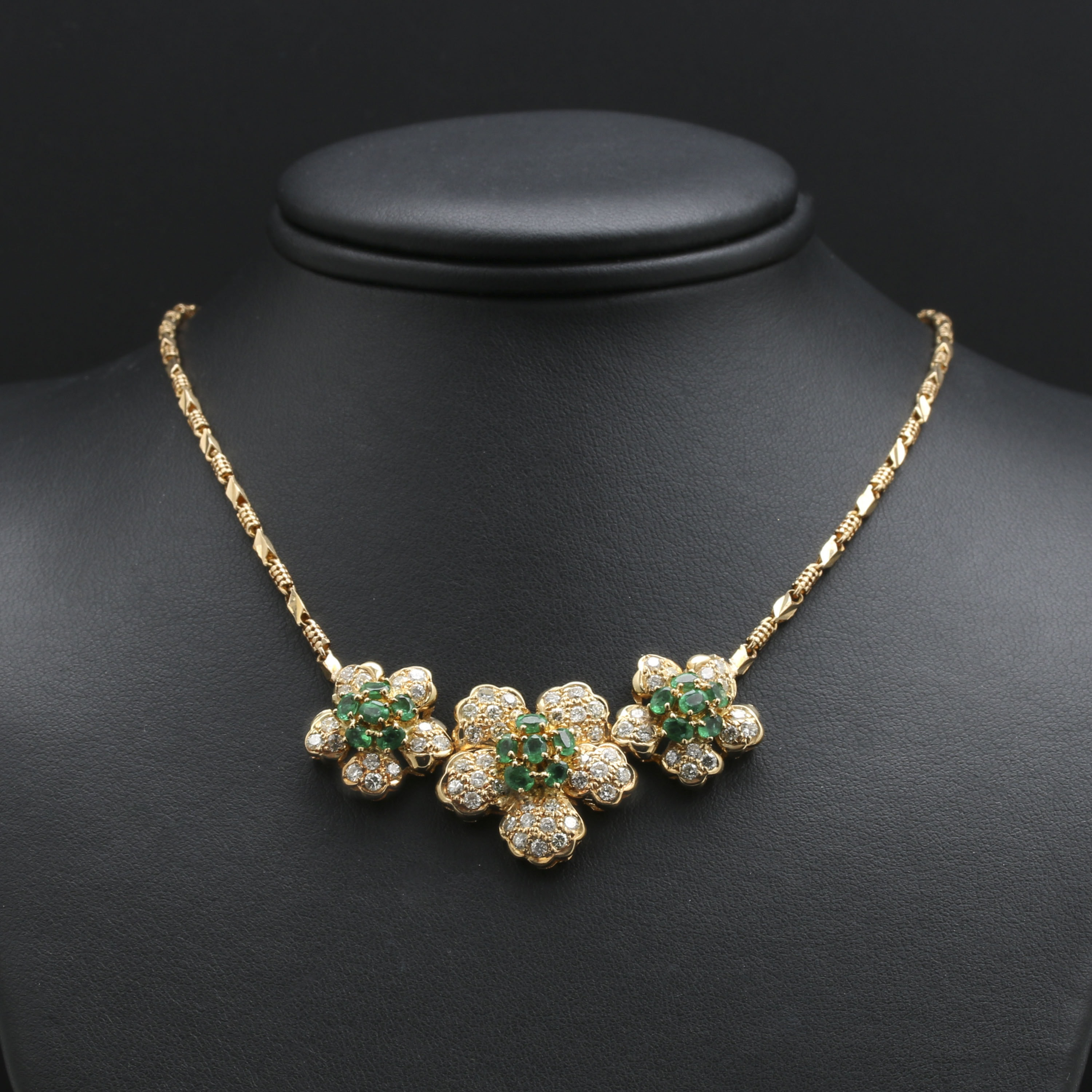 18K Yellow Gold 1.80 CTW Emerald and 2.35 CTW Diamond Necklace