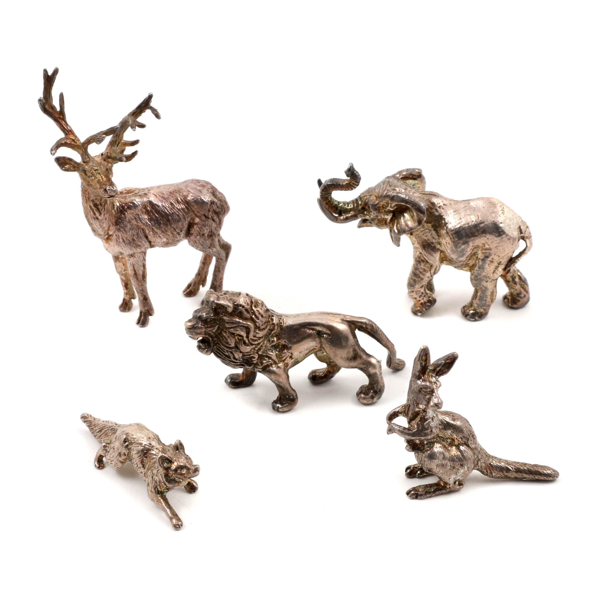 1980s English London Sterling Silver Animal Figurines