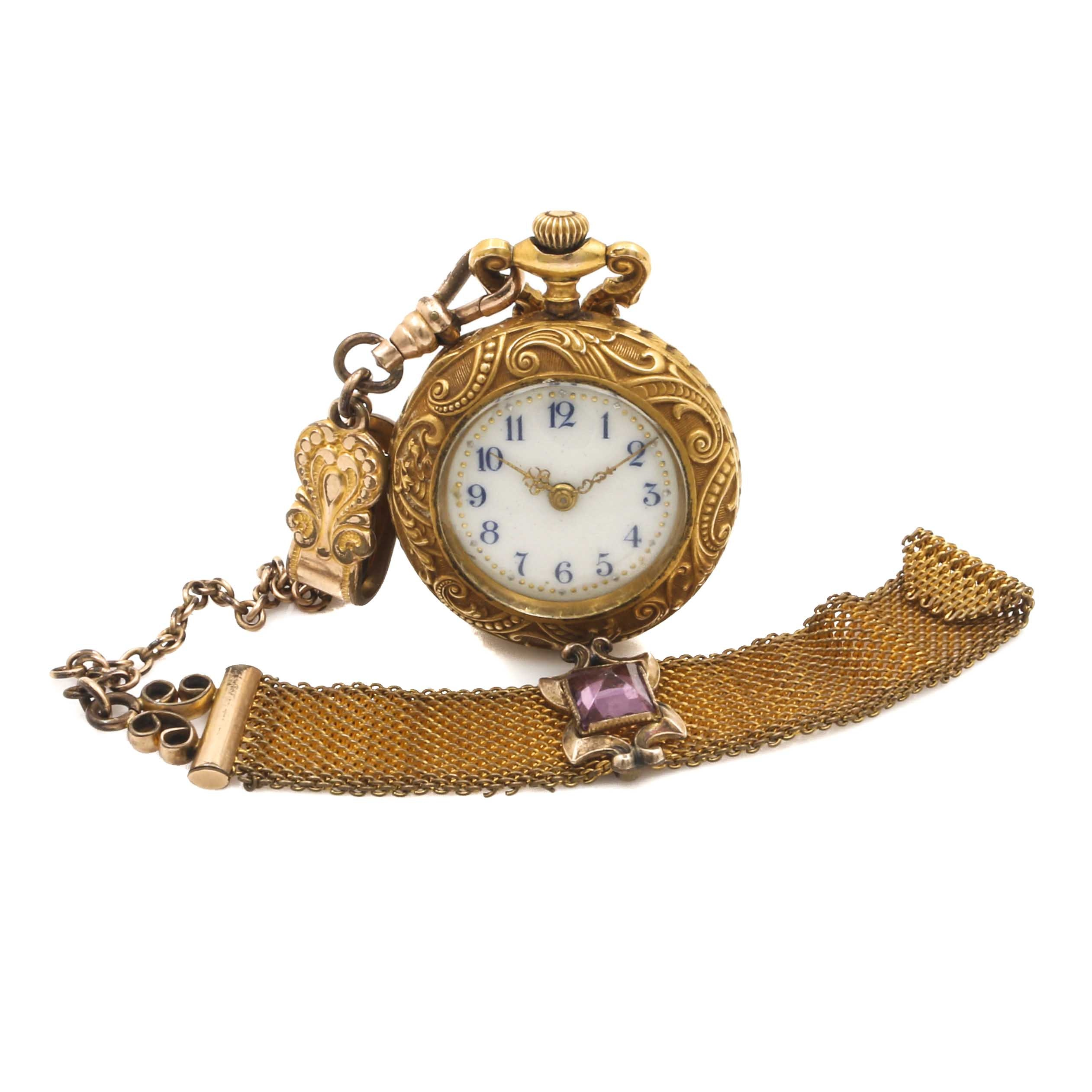 Gold Tone Pocket Watch, Chain and Fob
