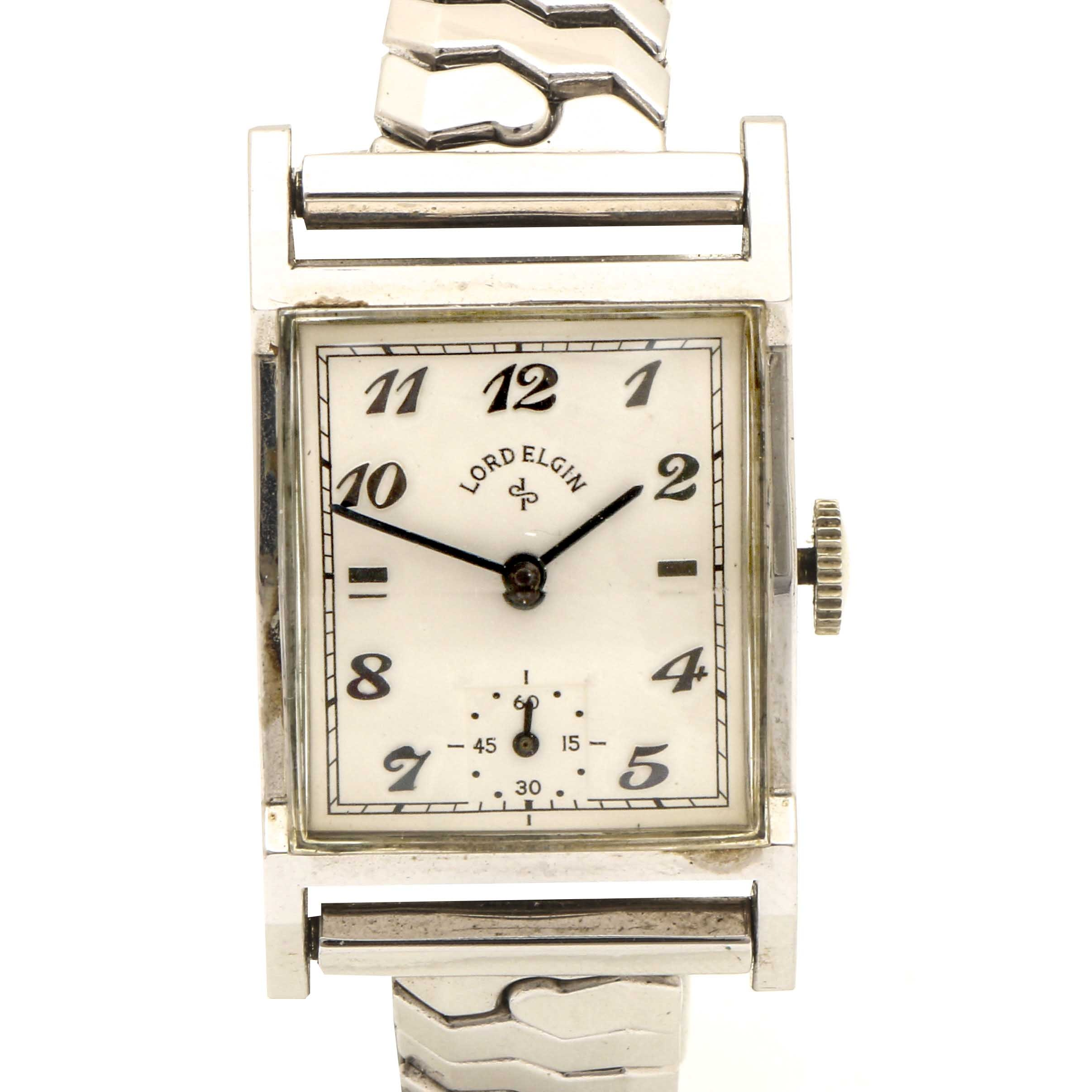 Lord Elgin 14K White Gold Filled Stem Wind Wristwatch
