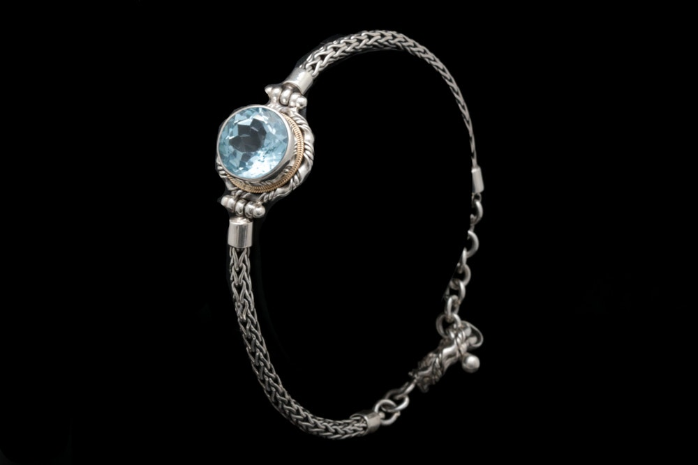 Sterling Silver, 18K Yellow Gold and Blue Topaz Bracelet
