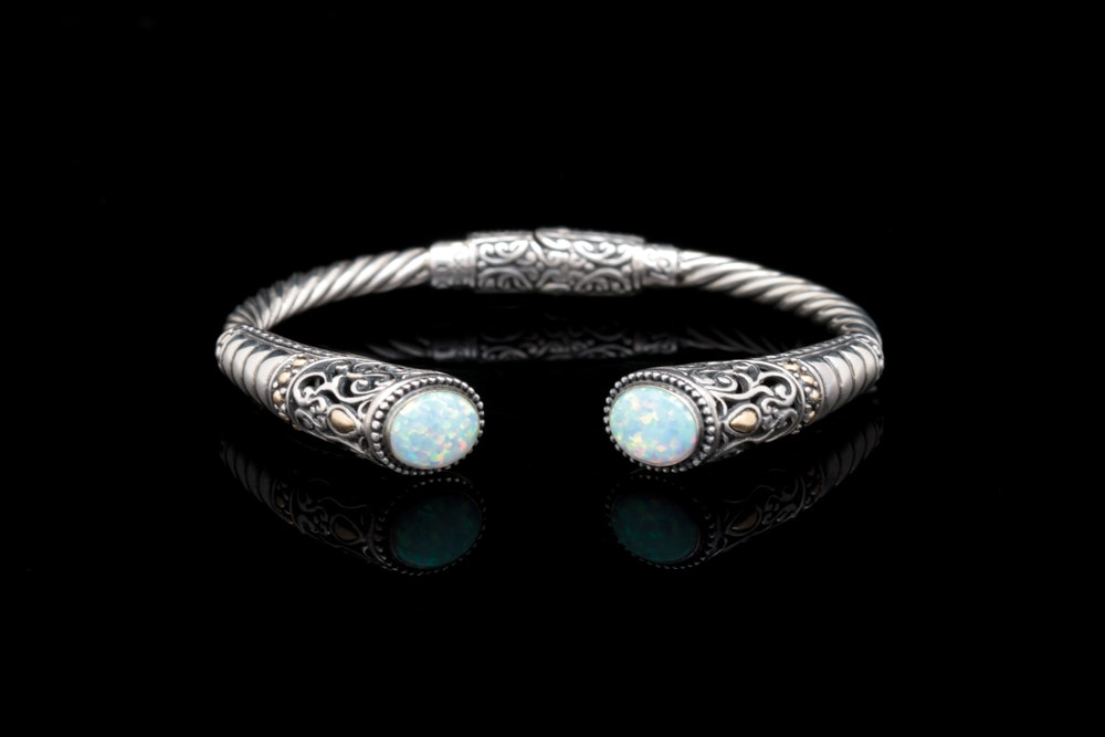 Robert Manse Sterling Silver, 18K Yellow Gold and Synthetic Opal Cuff Bracelet