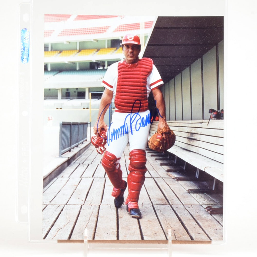 Hall Of Fame Catcher Johnny Bench Signed Cincinnati Reds Photo