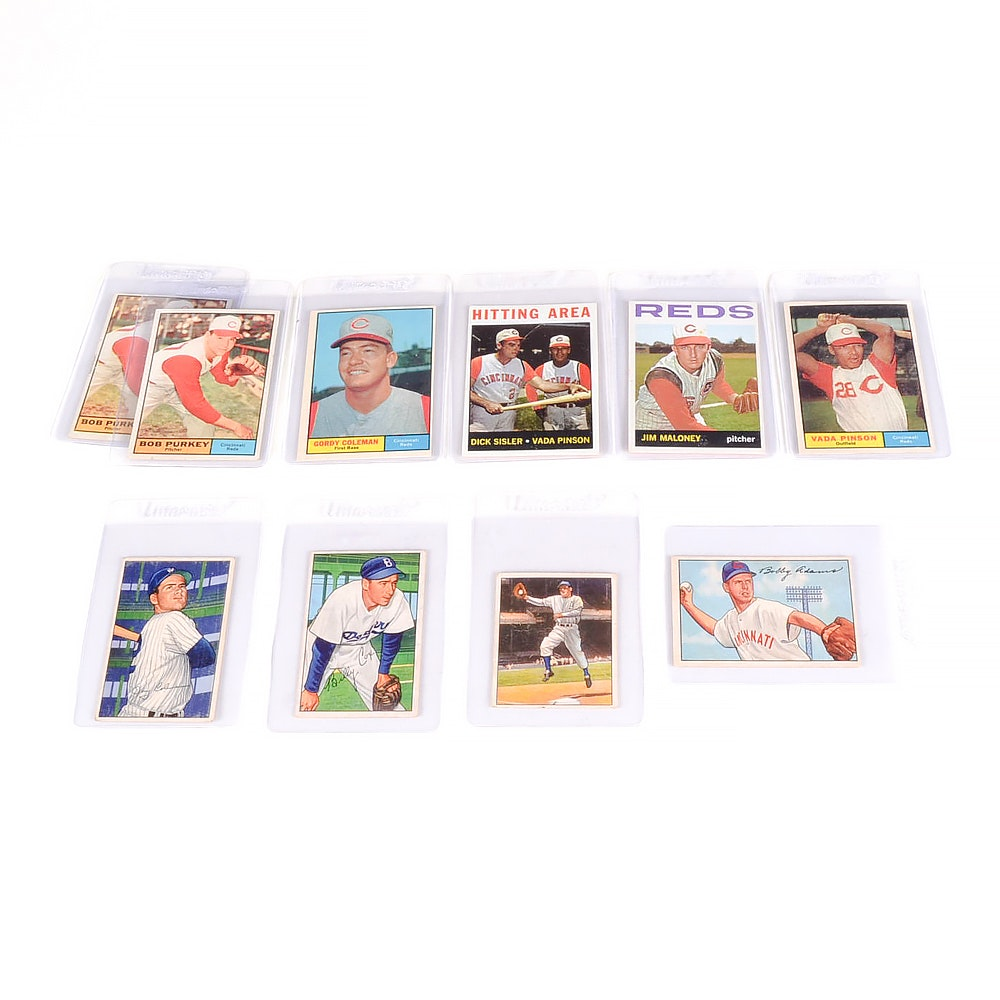 Ten Vintage Bowman and Topps Baseball Cards  Mainly Reds