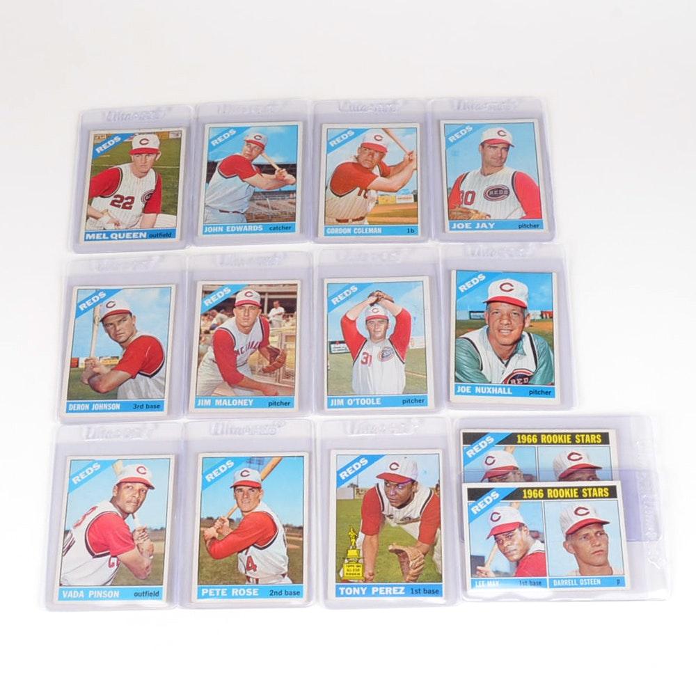 Thirteen 1966 Cincinnati Reds Topps Baseball Cards With Rose/Perez