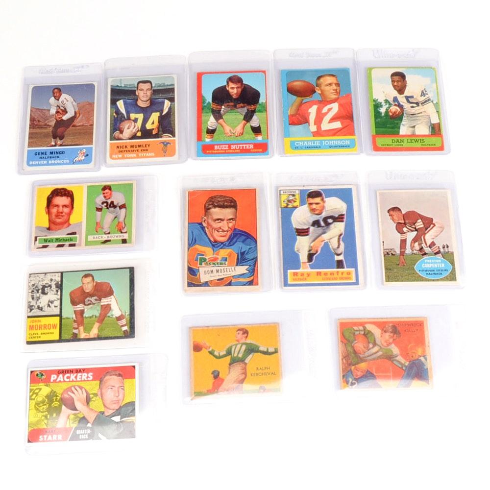 Thirteen Vintage Football Cards