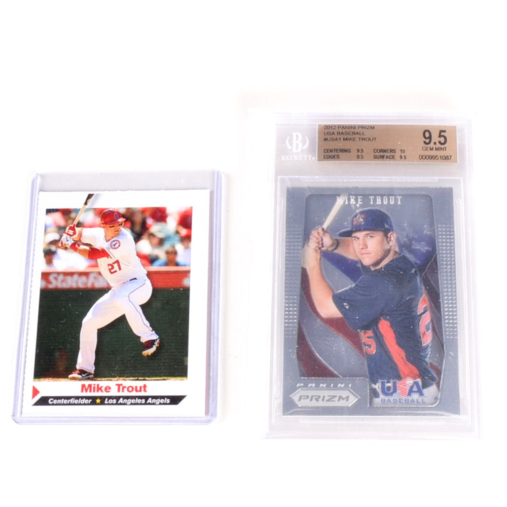 2012 Mike Trout Panini Prism Team USA 9.5 and SI Rookie Cards