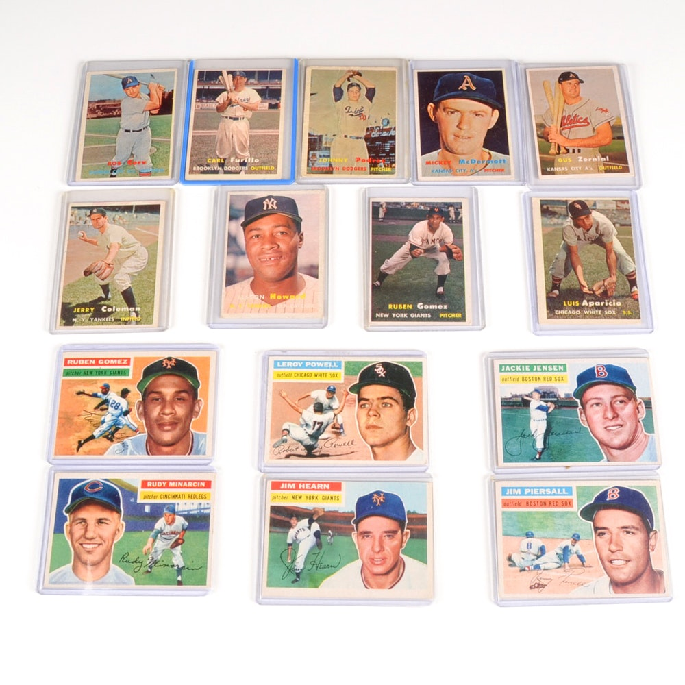 Fifteen 1956 and 1957 Topps Baseball Cards
