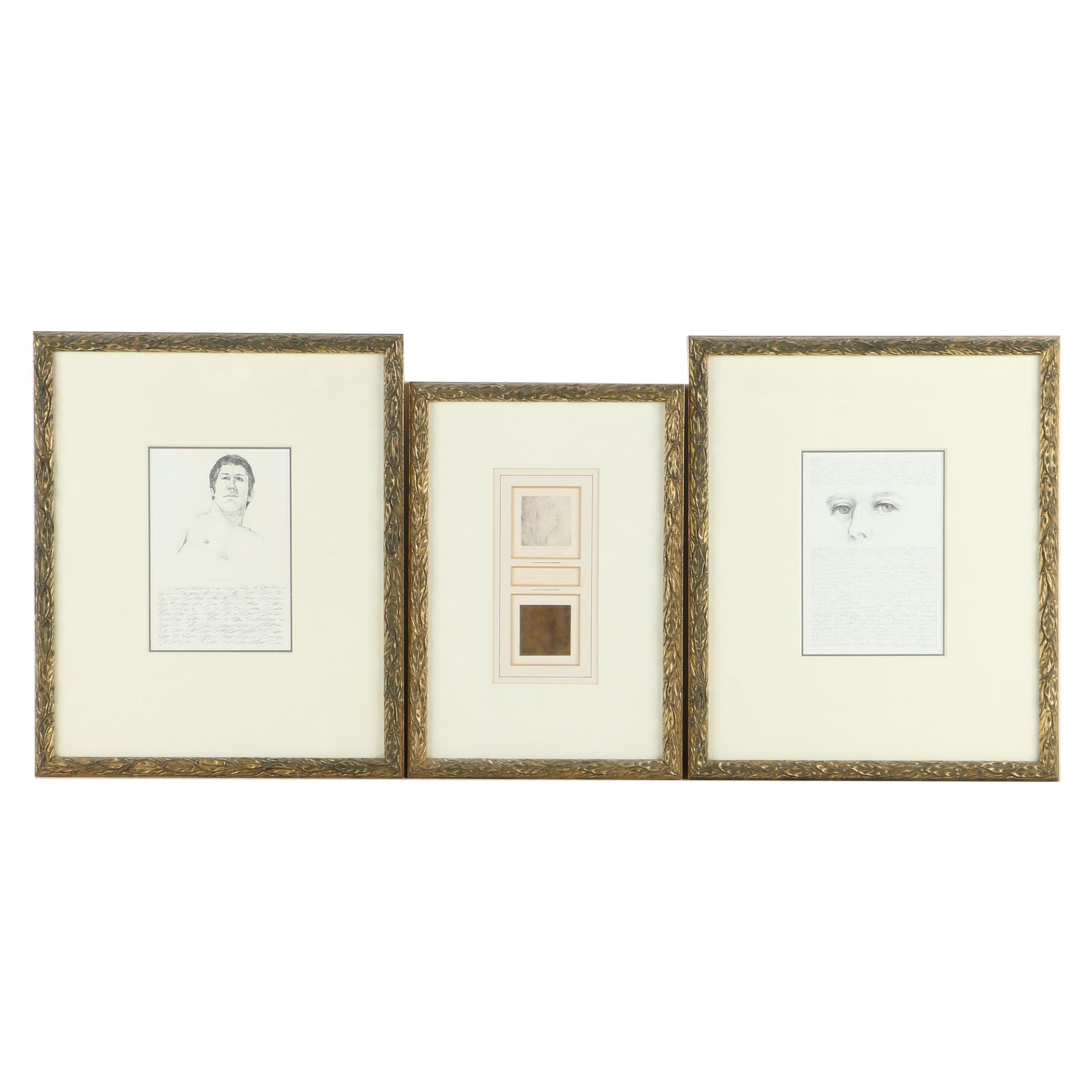 David Eugene Henry Artist Proof Etching on Paper and Graphite Drawings