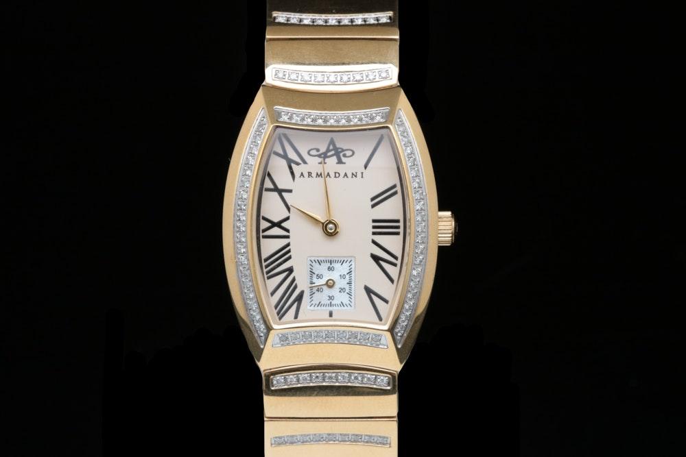 1.31 CTW Diamond and Gold Tone Stainless Steel Armandani Wristwatch