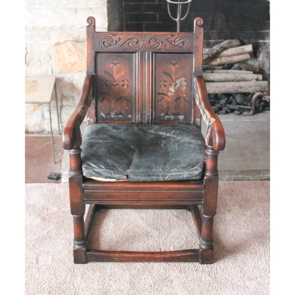 Replica Century Furniture Charles II Oak and Marquetry Arm Chair