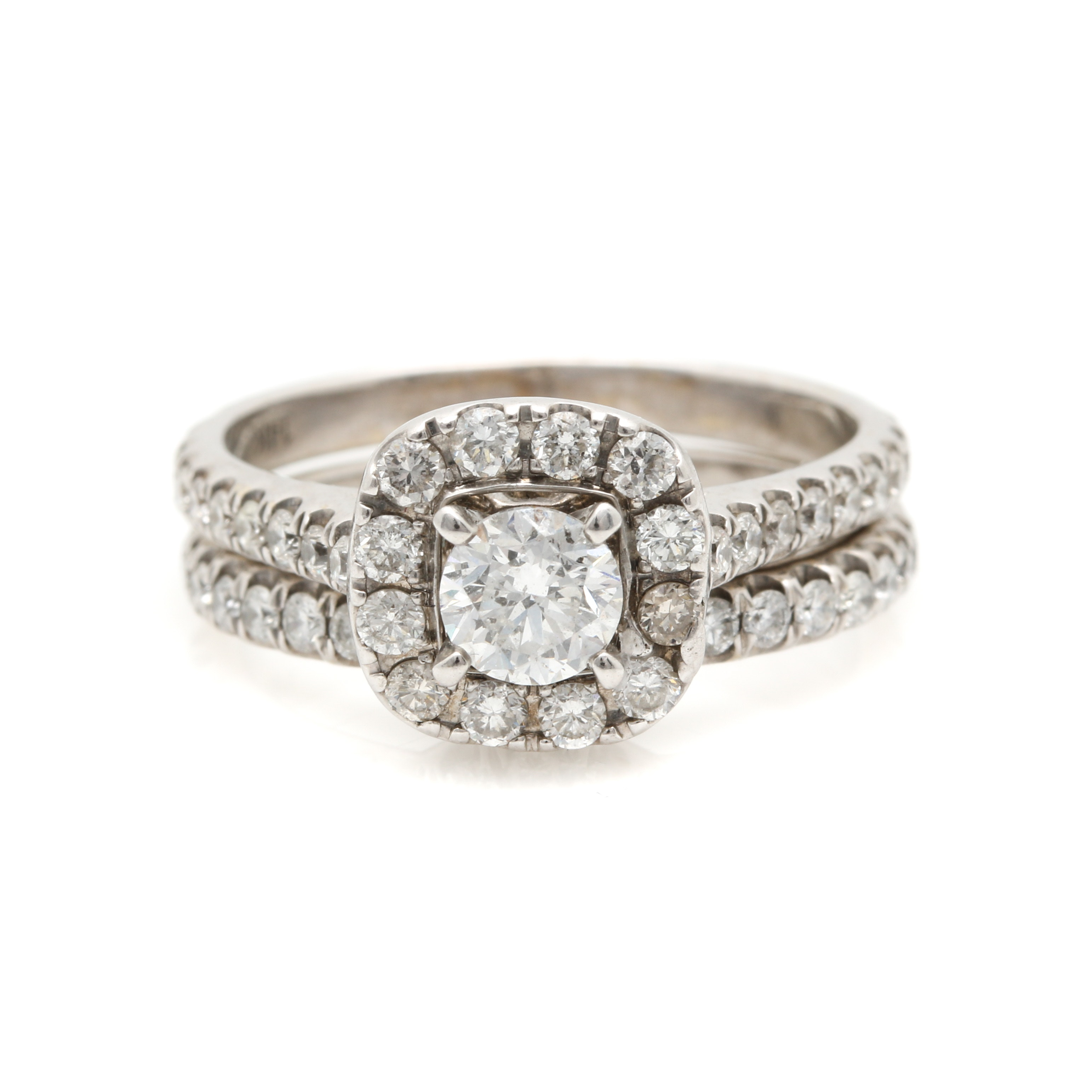14K White Gold 1.70 CTW Diamond Engagement Ring and Band