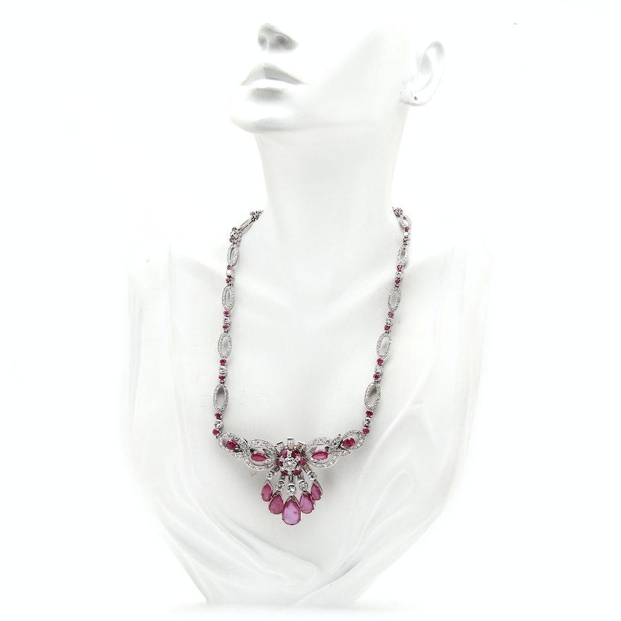 71766e5323b White Gold Palladium 9.90 CTW Diamond   Natural Burmese Ruby Converter  Necklace   EBTH