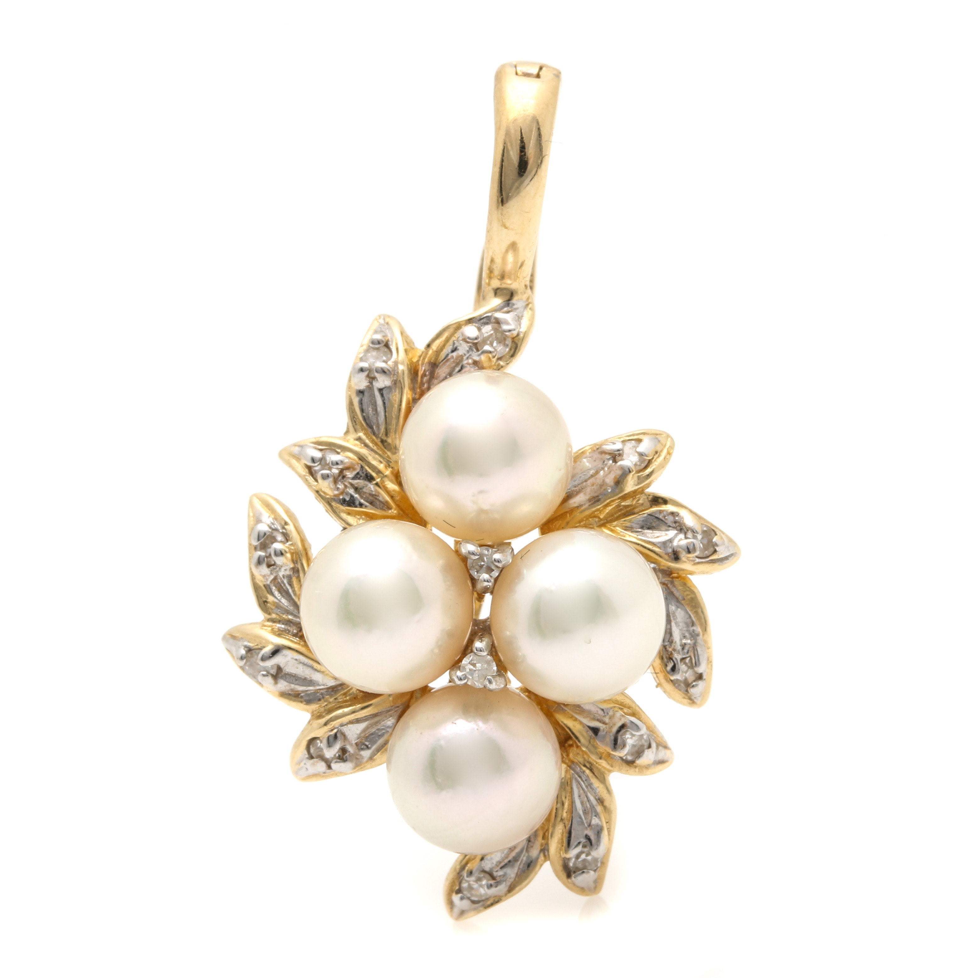 14K Yellow Gold Cultured Pearl and Diamond Enhancer Pendant