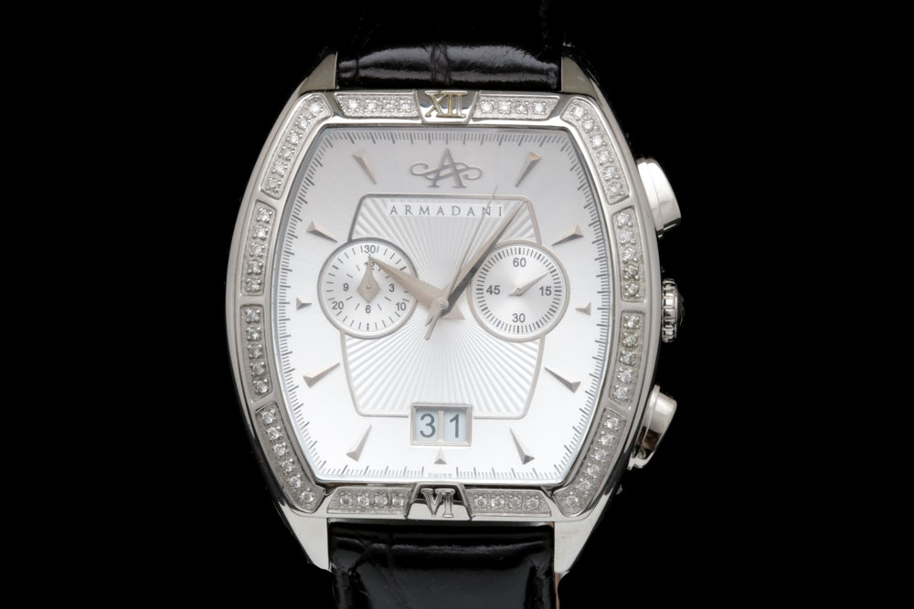 0.60 CTW Diamond, Stainless Steel and Leather Armandani Wristwatch
