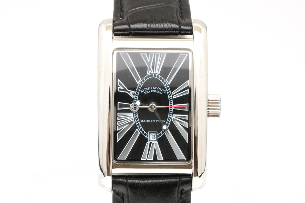 """Ritmo Mundo """"Vintage"""" Stainless Steel and Leather Wristwatch"""