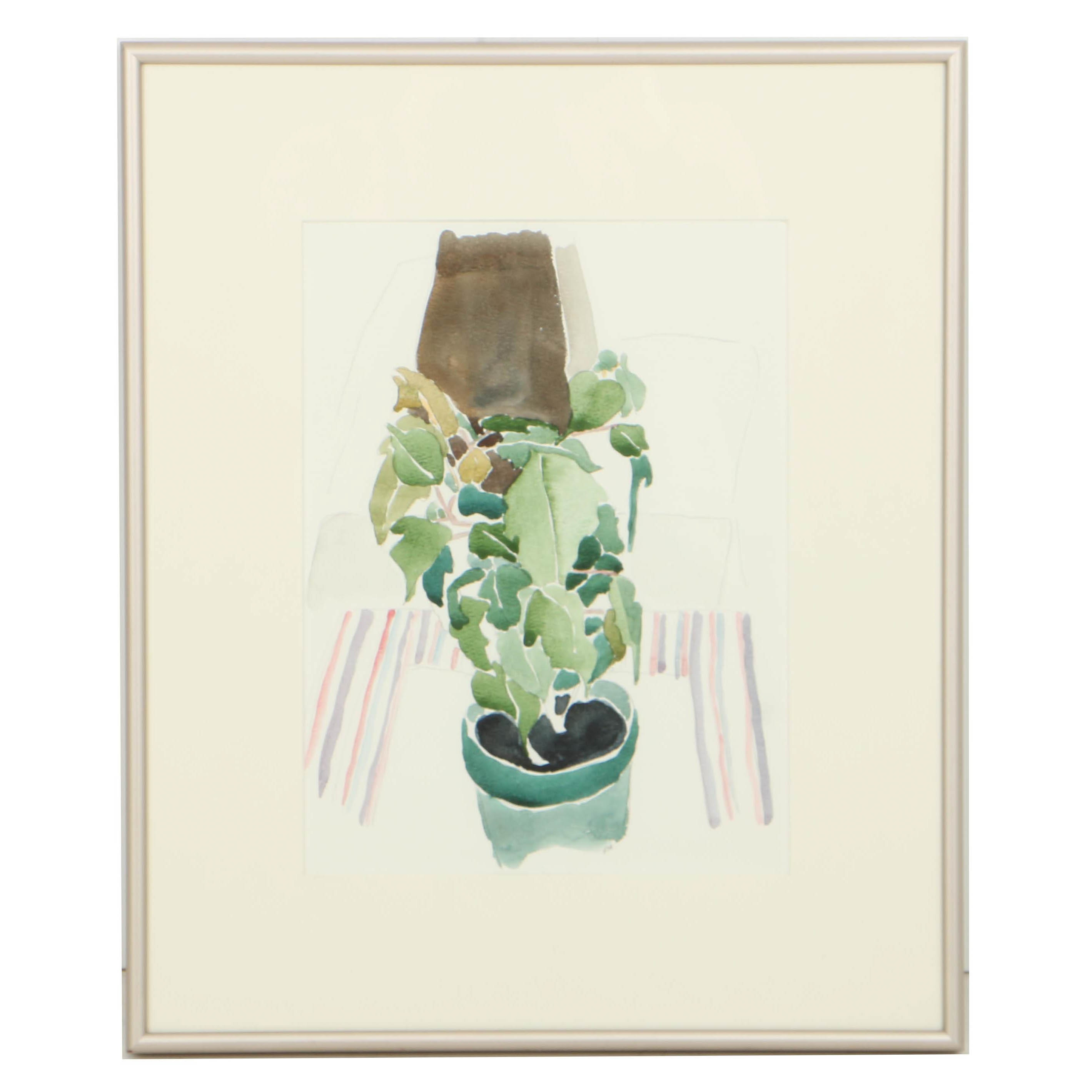 """Robert Herrmann Watercolor Painting on Paper """"Green Potted Plant"""""""