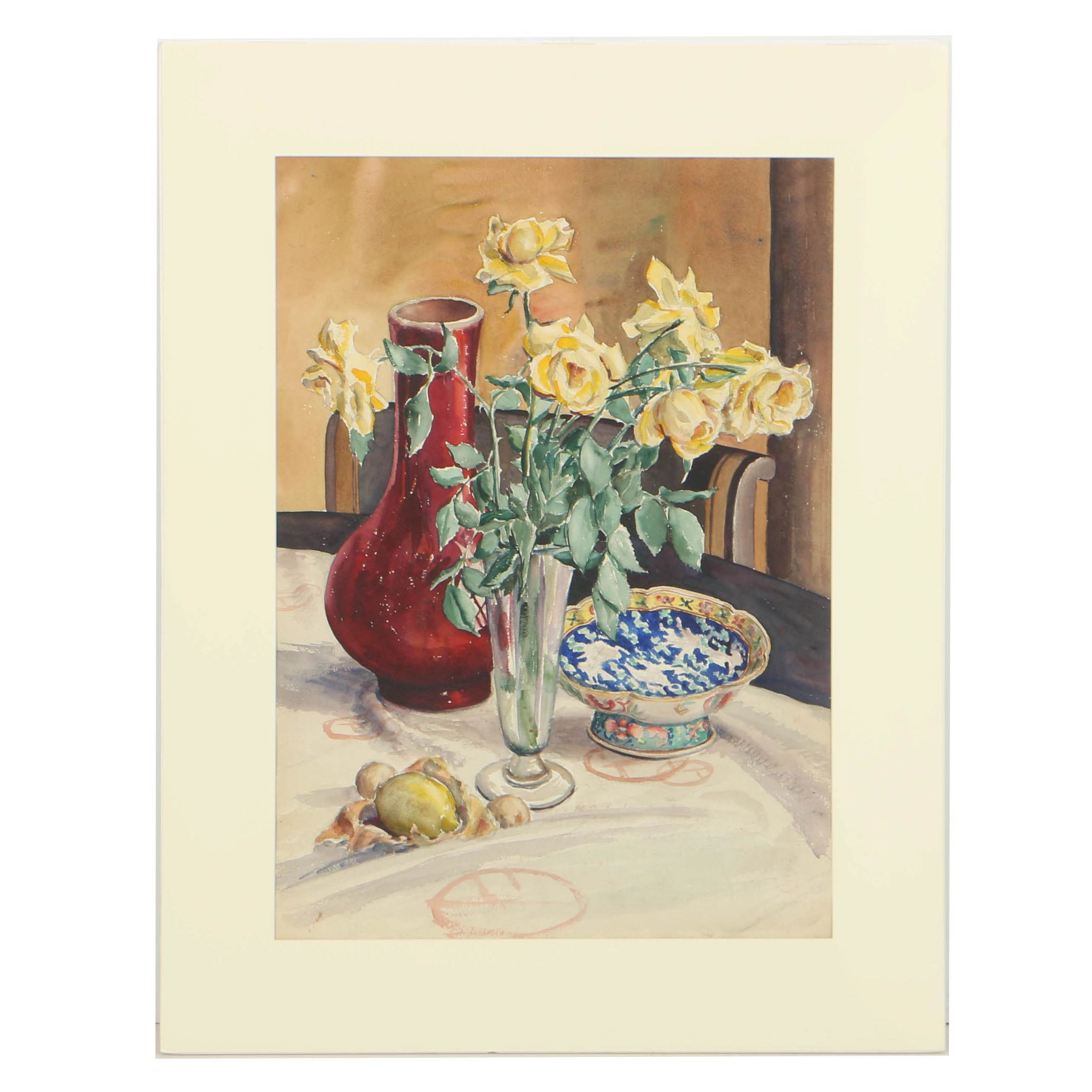 Carl Zimmerman Watercolor on Paper Still Life