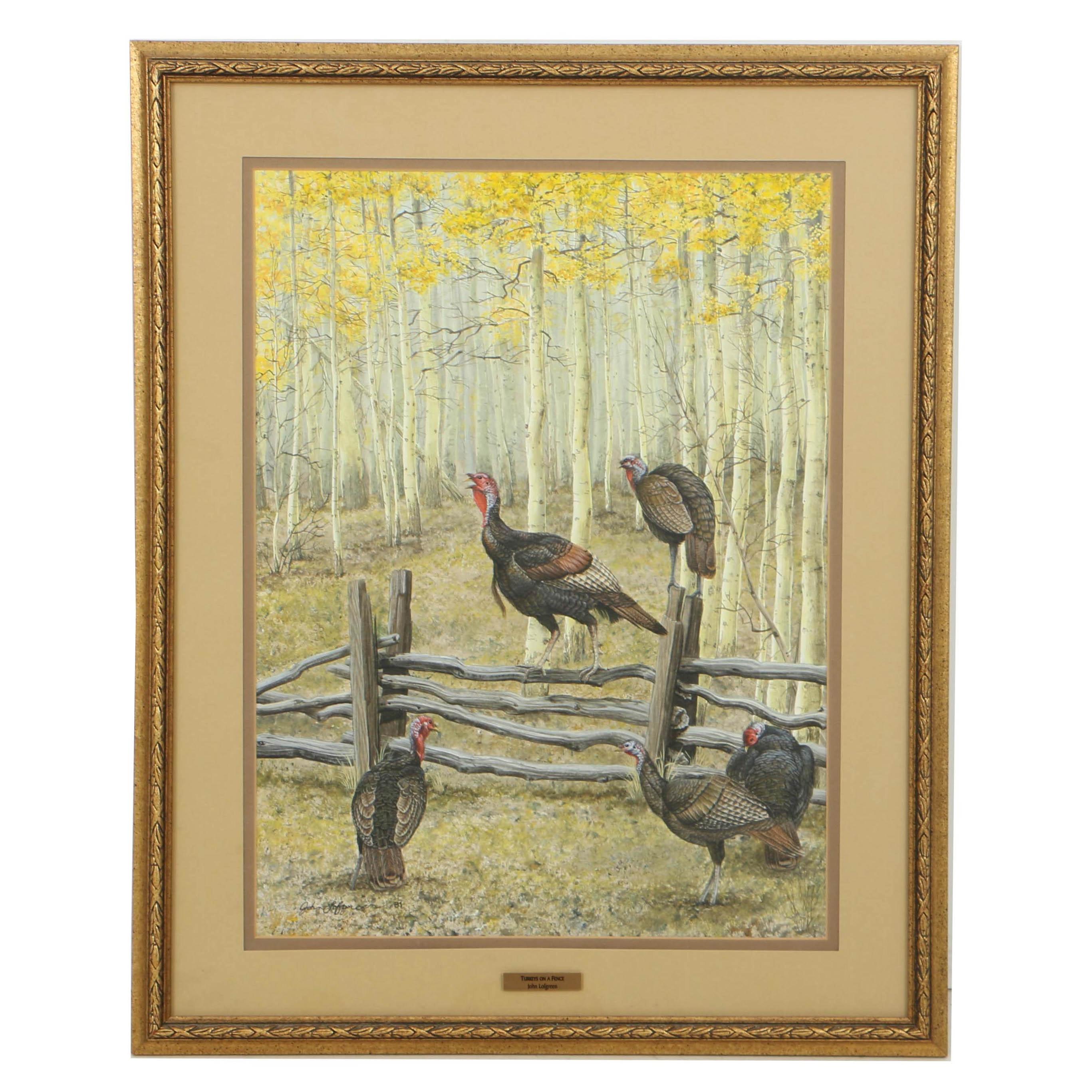 """John Lofgreen Acrylic Painting on Paper """"Turkeys on Fence"""""""