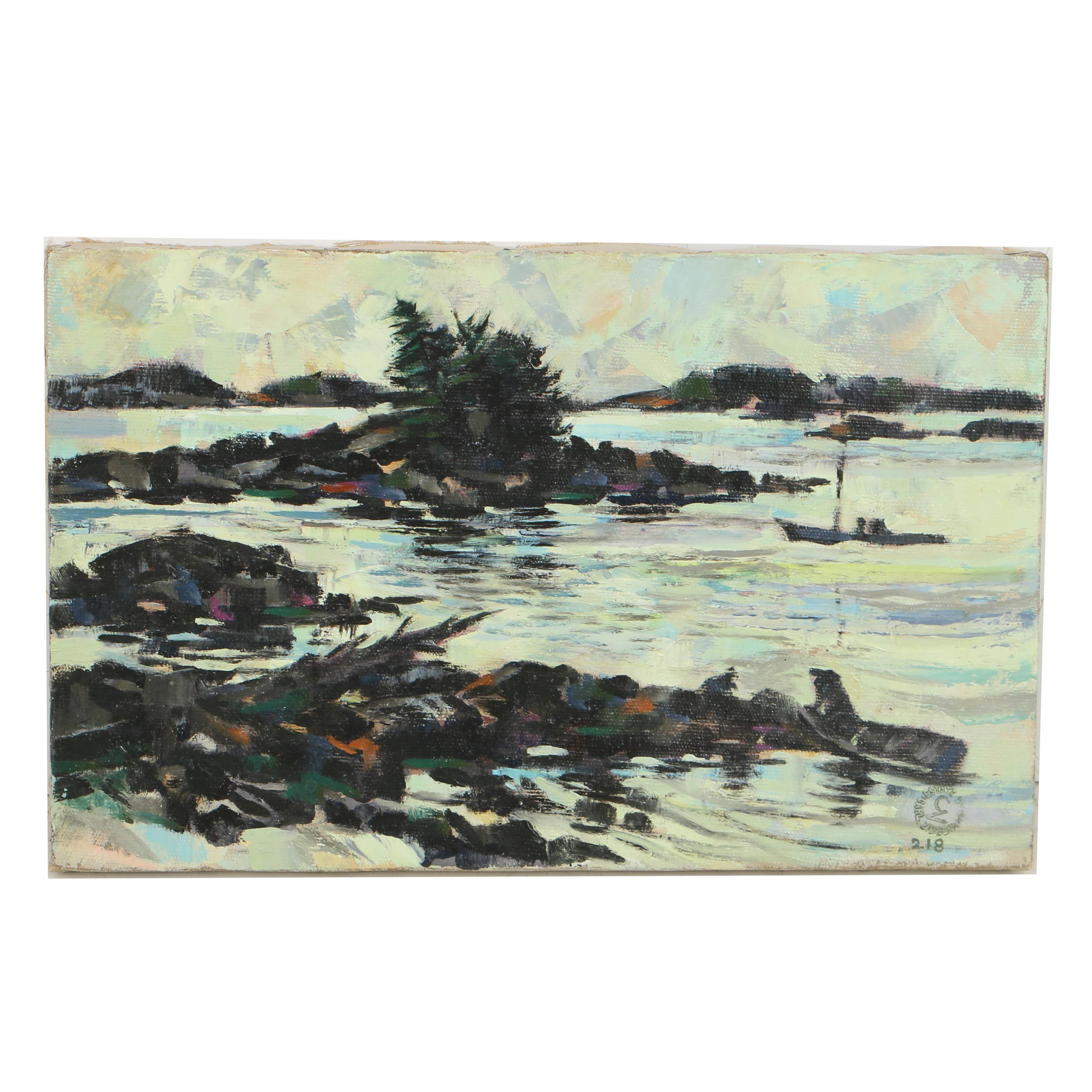 Carl Zimmerman Oil Painting on Canvas River Landscape