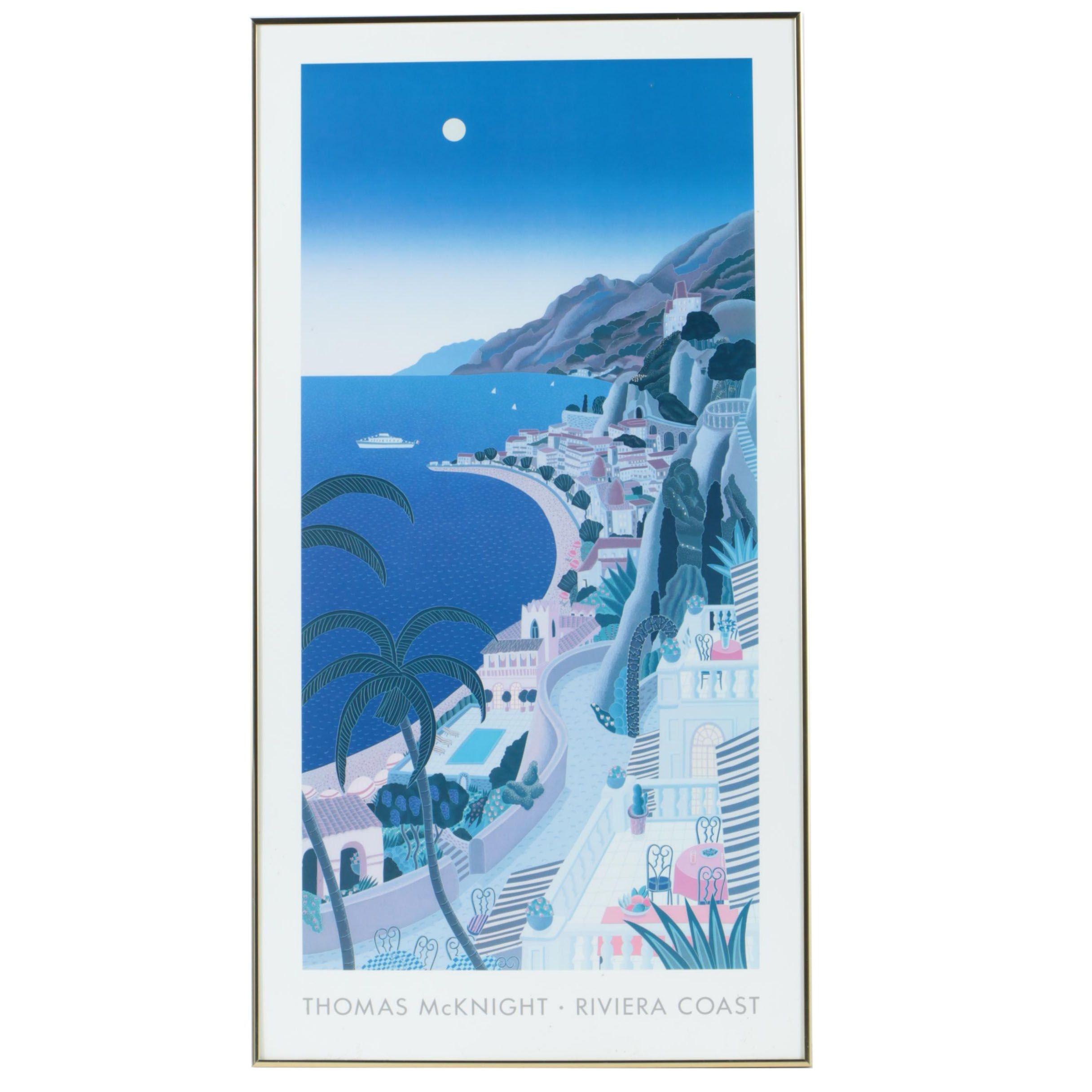 "Offset Lithograph After Thomas McKnight ""Riviera Coast"""