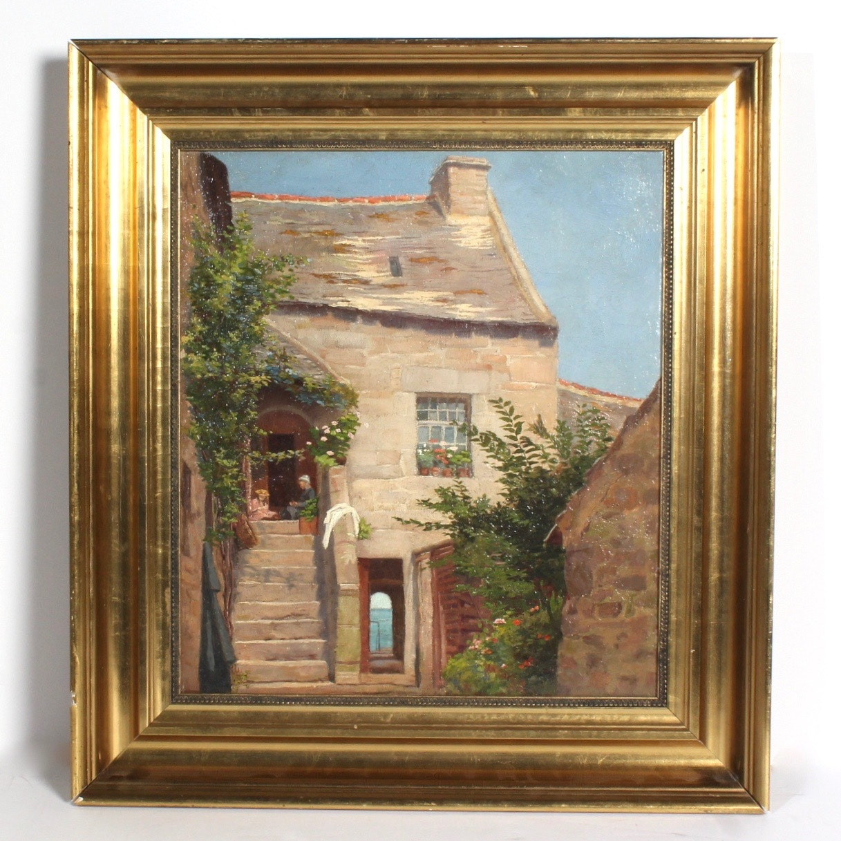 Oil Painting on Canvas of a European House