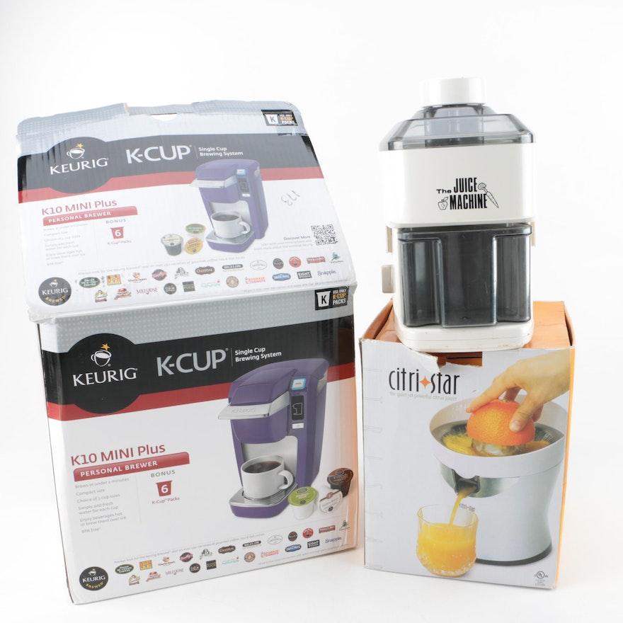 keurig coffee maker and citri star juice machine ebth